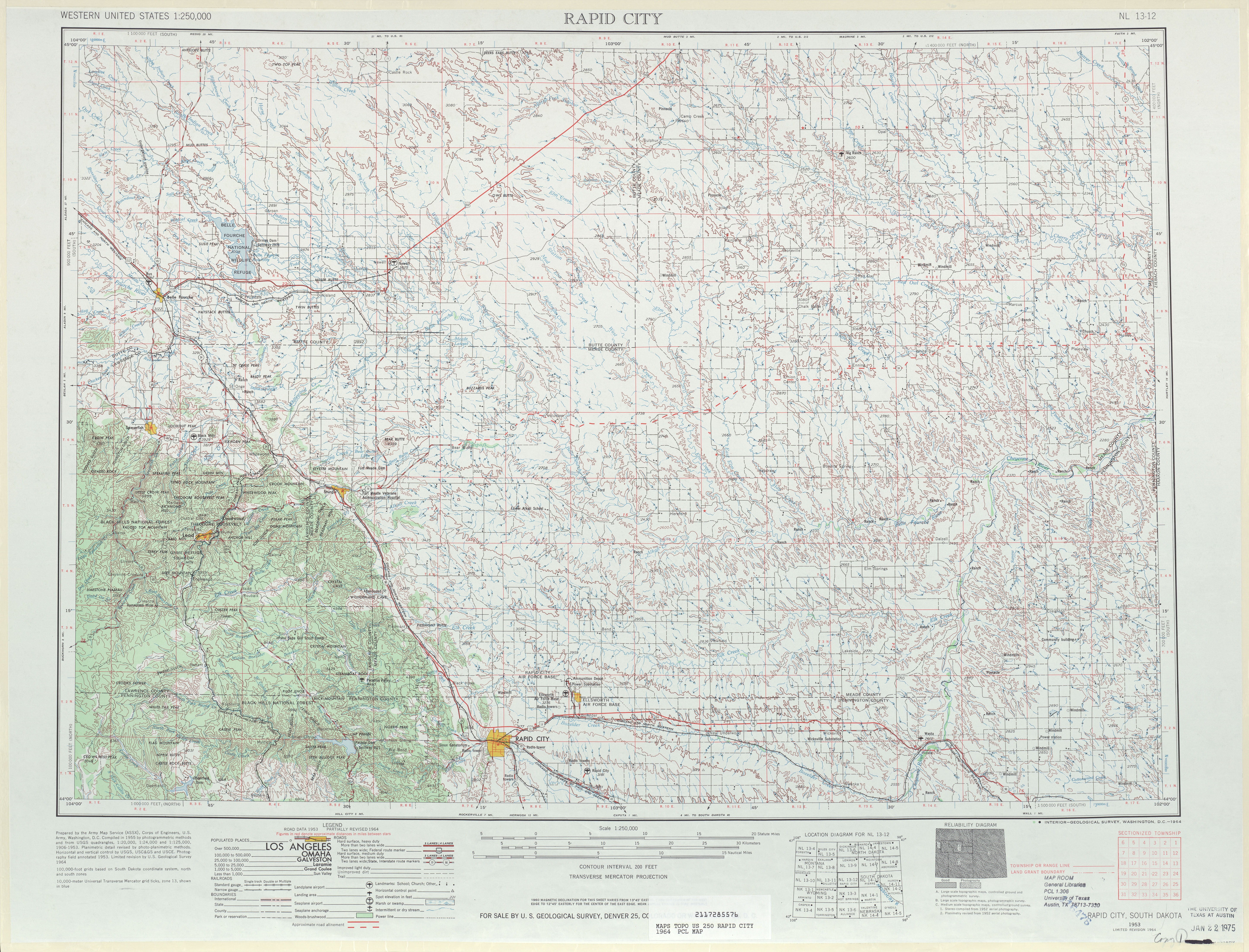 Hoja Rapid City del Mapa Topográfico de los Estados Unidos 1964