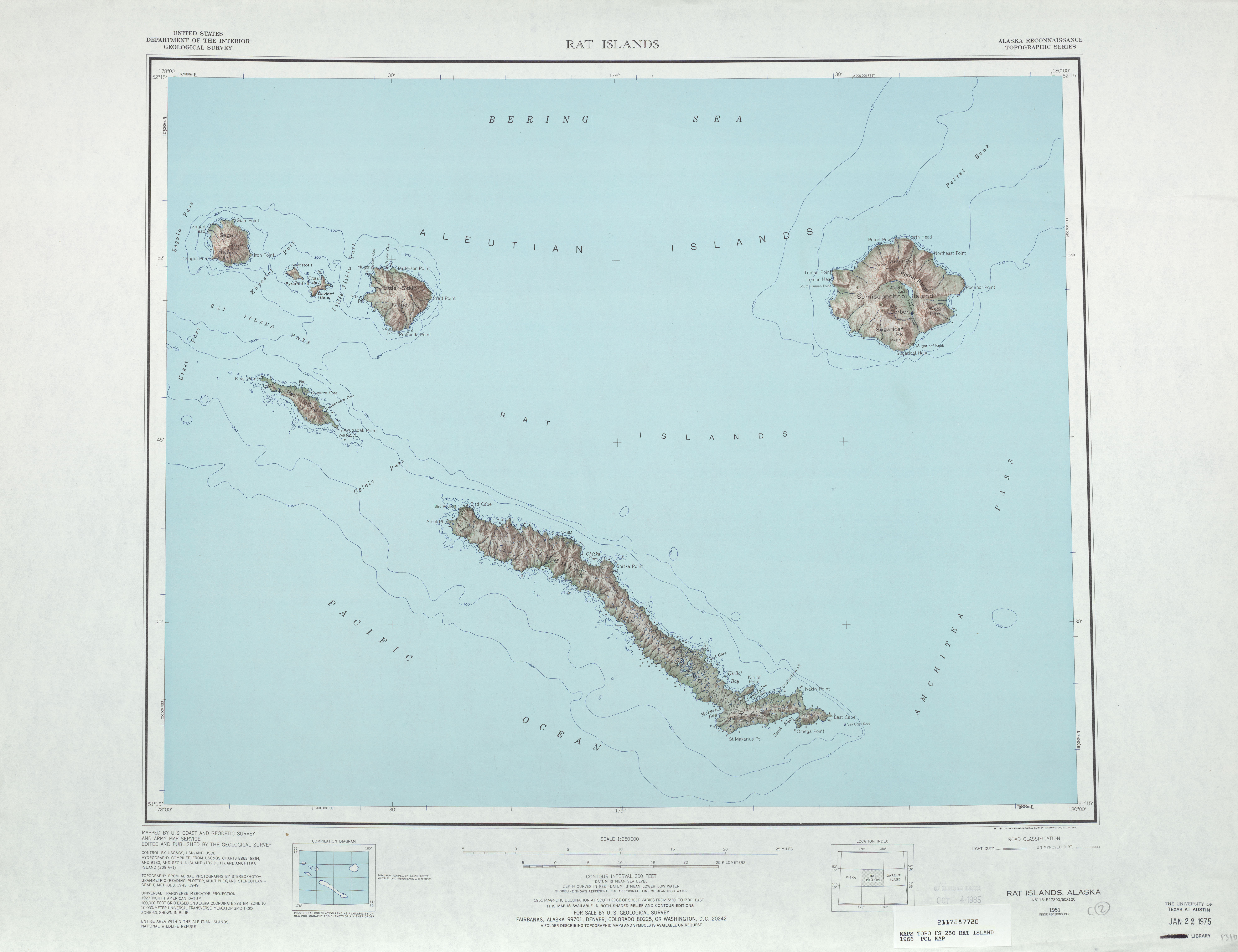 Rat Islands Topographic Map Sheet, United States 1966