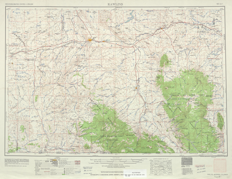 Hoja Rawlins del Mapa Topográfico de los Estados Unidos 1954