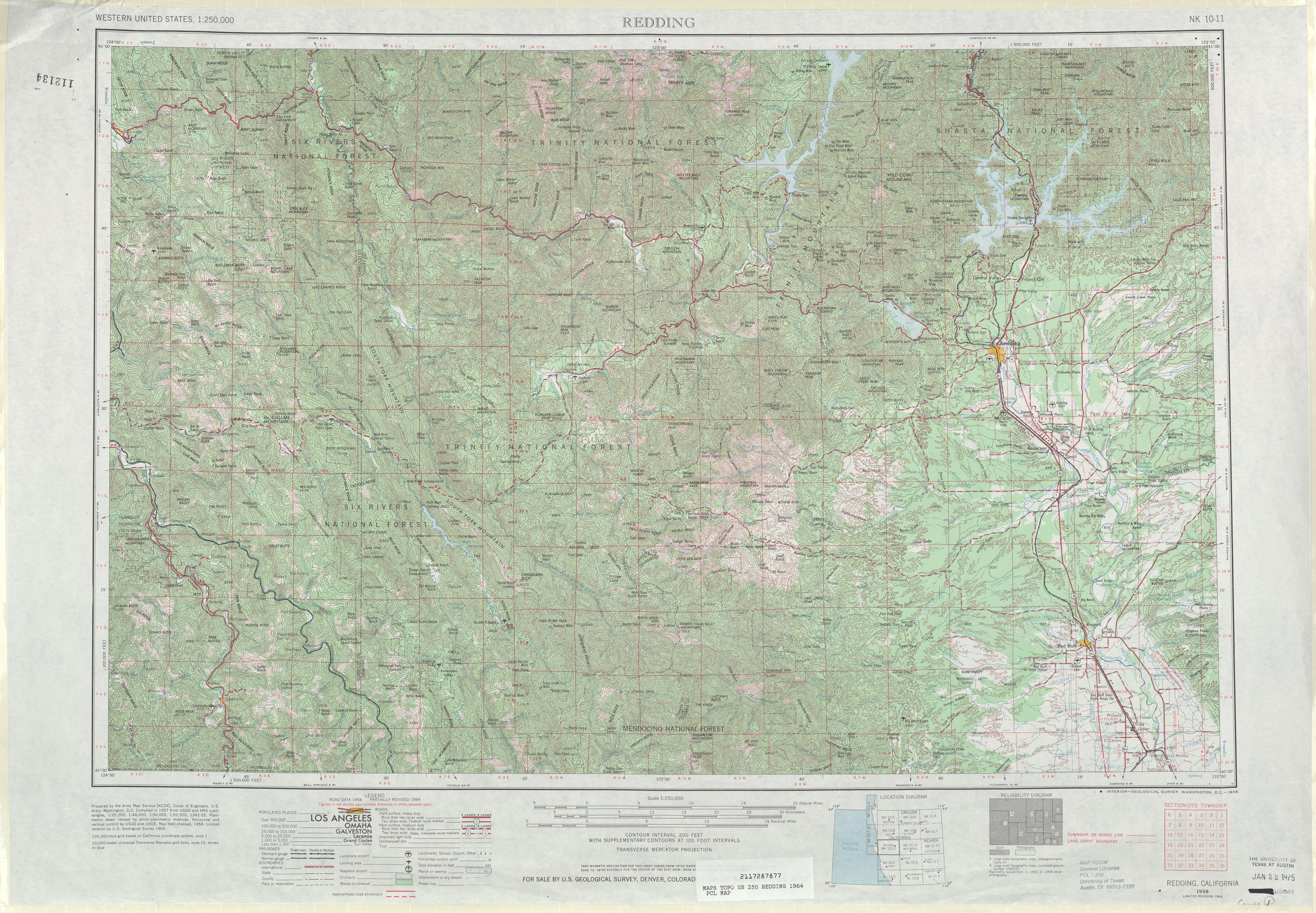 Hoja Redding del Mapa Topográfico de los Estados Unidos 1964