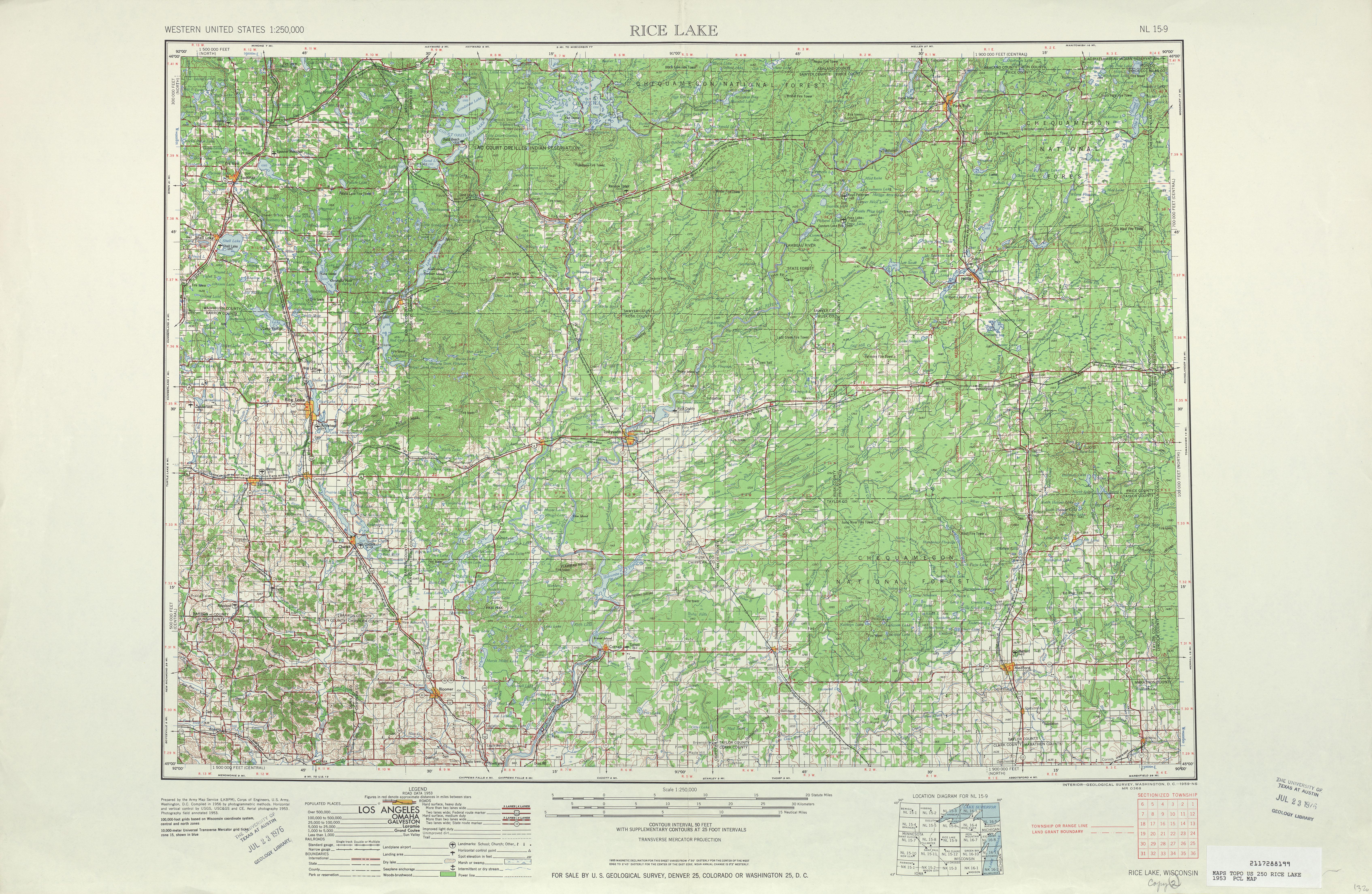 Rice Lake Topographic Map Sheet, United States 1953