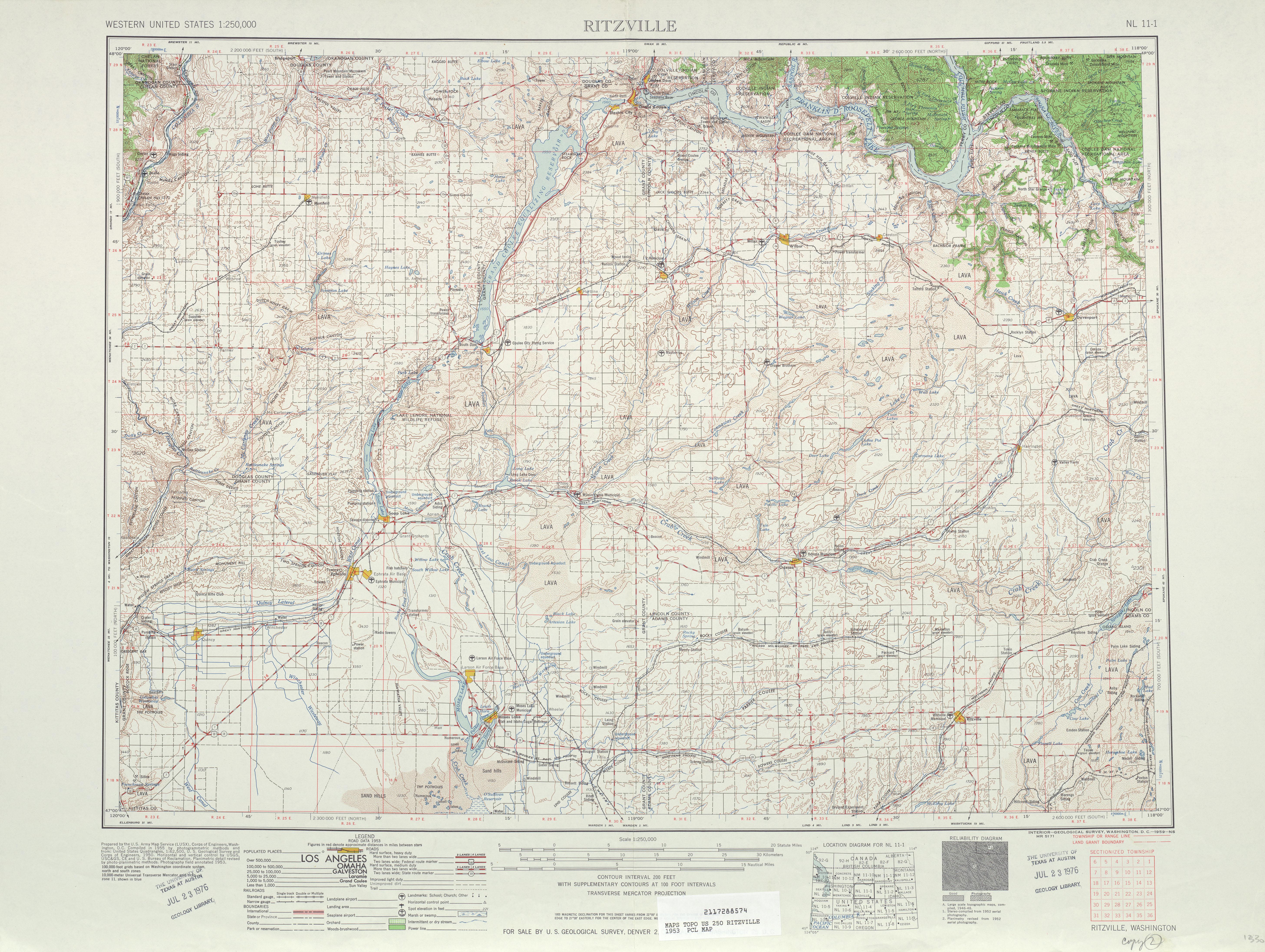 Hoja Ritzville del Mapa Topográfico de los Estados Unidos 1953