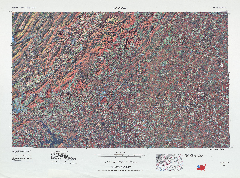 Hoja Roanoke de la Imagen Satelital de los Estados Unidos 1980