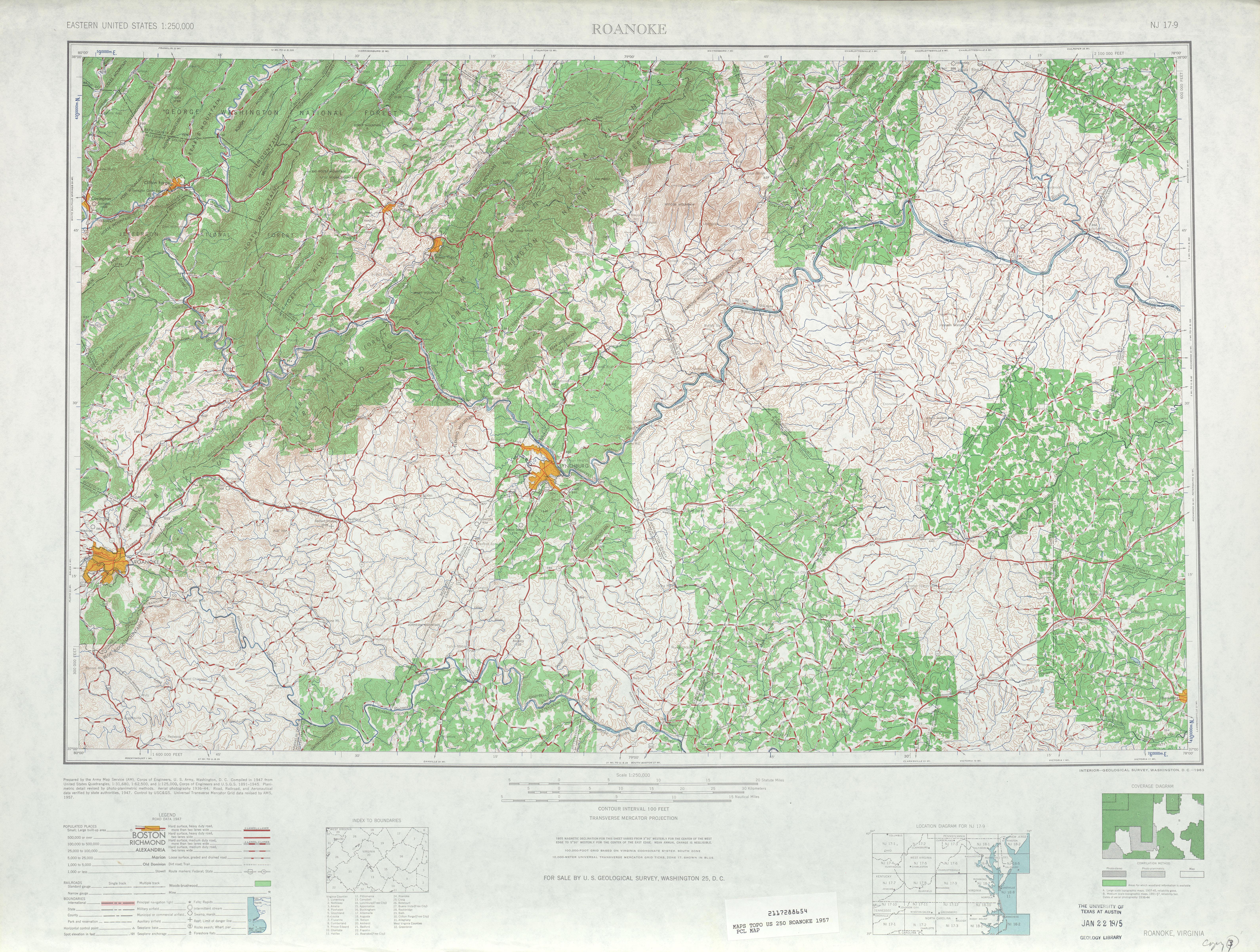 Hoja Roanoke del Mapa Topográfico de los Estados Unidos 1957