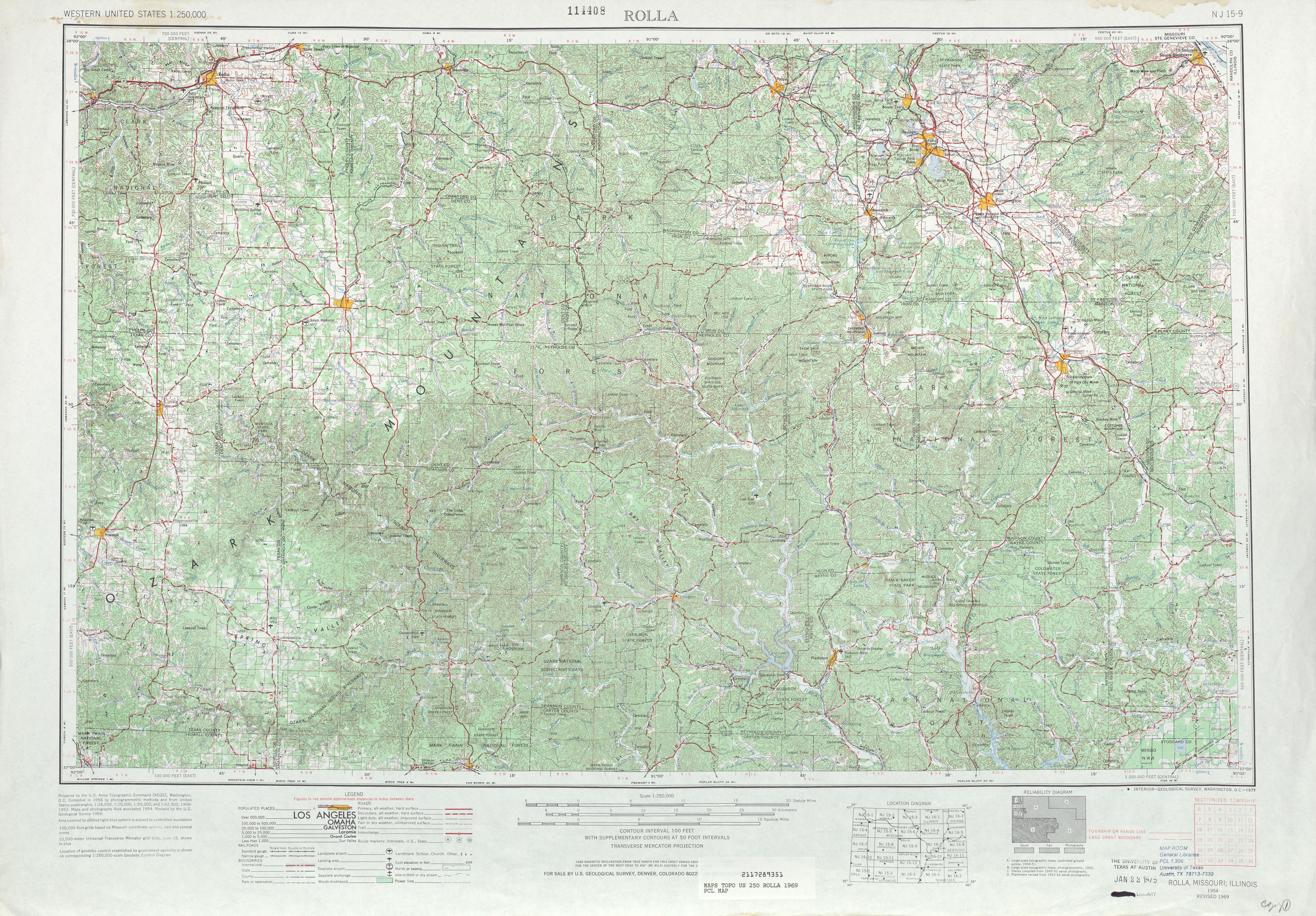 Hoja Rolla del Mapa Topográfico de los Estados Unidos 1969