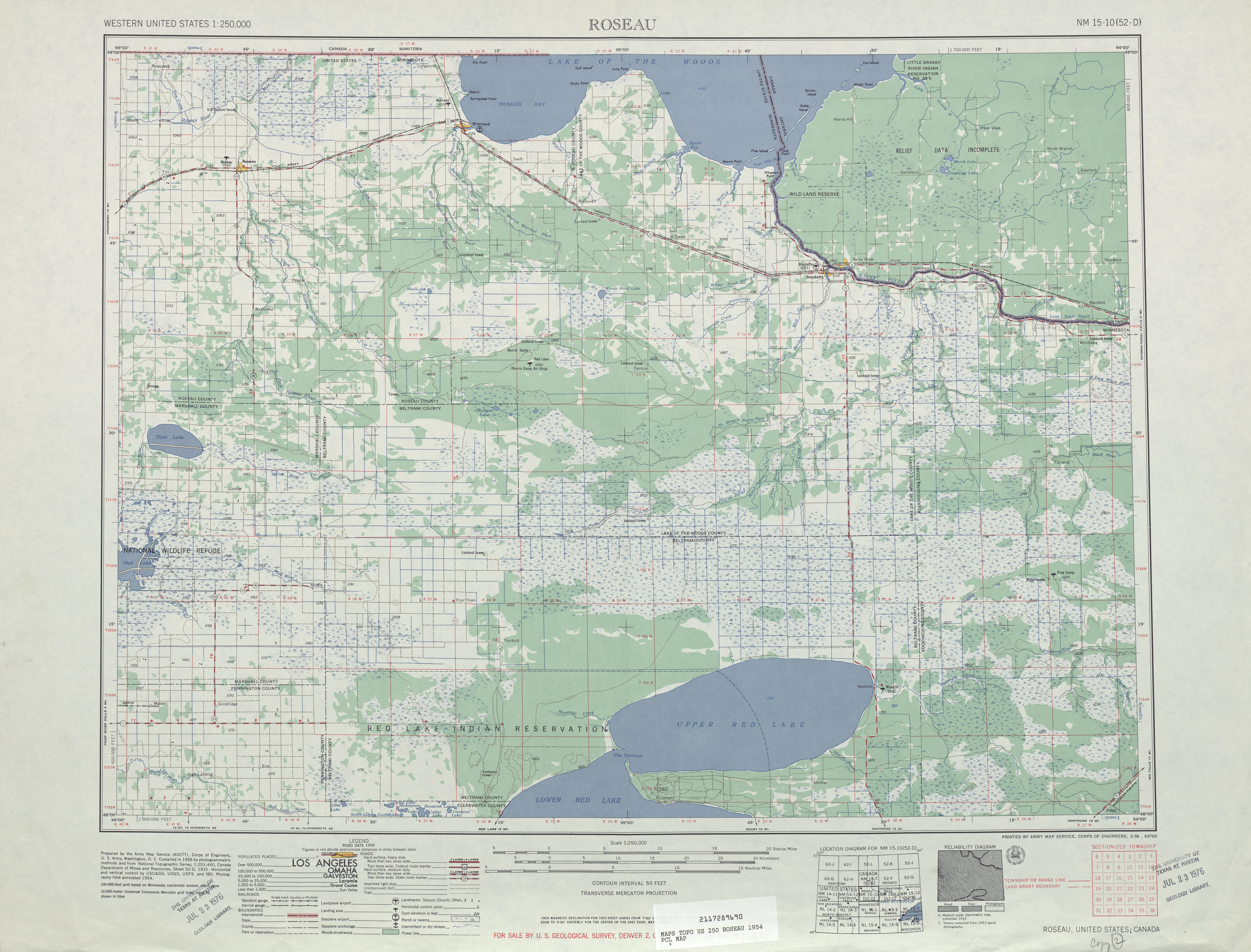 Roseau Topographic Map Sheet, United States 1954