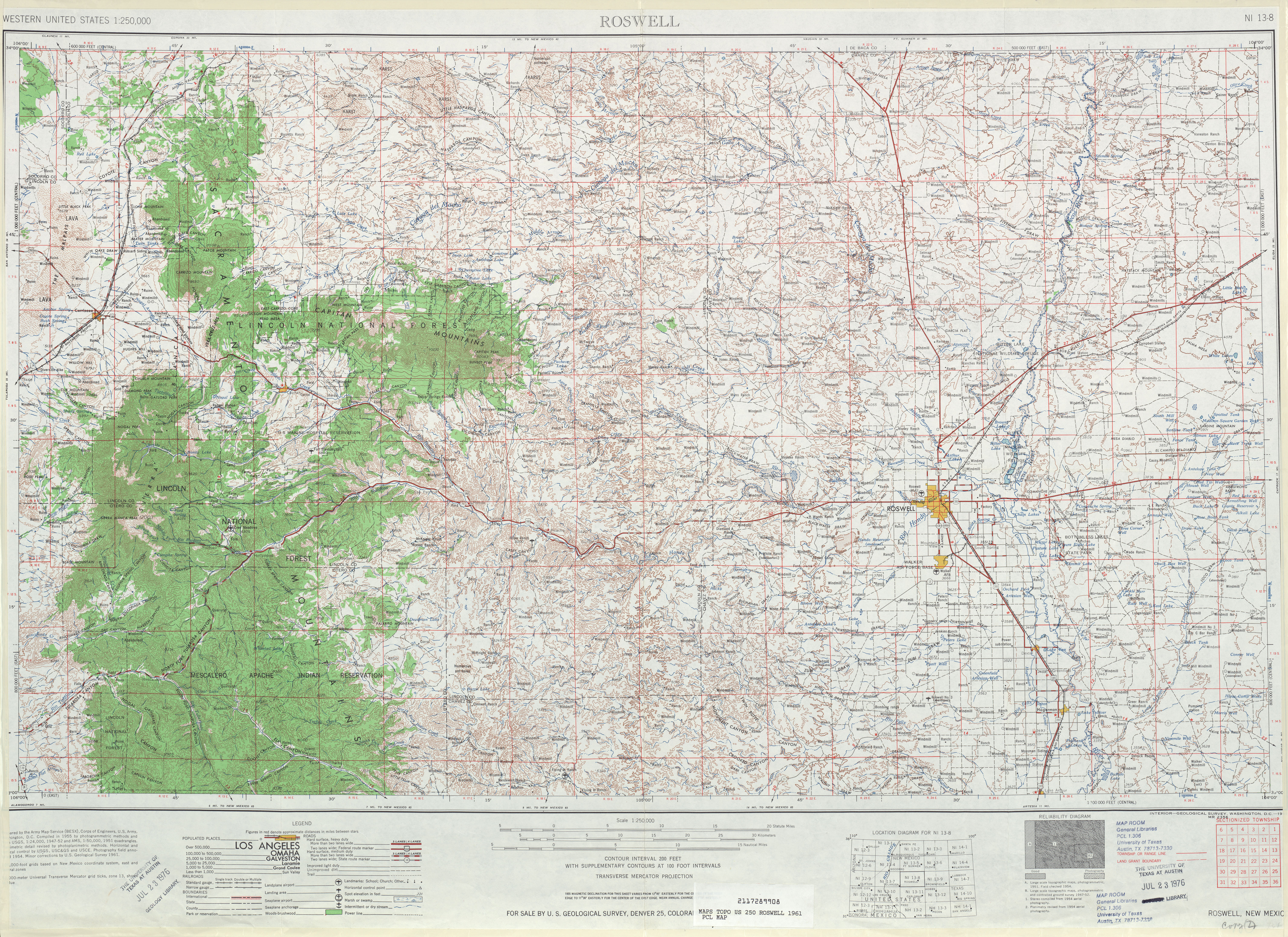 Roswell Topographic Map Sheet, United States 1961