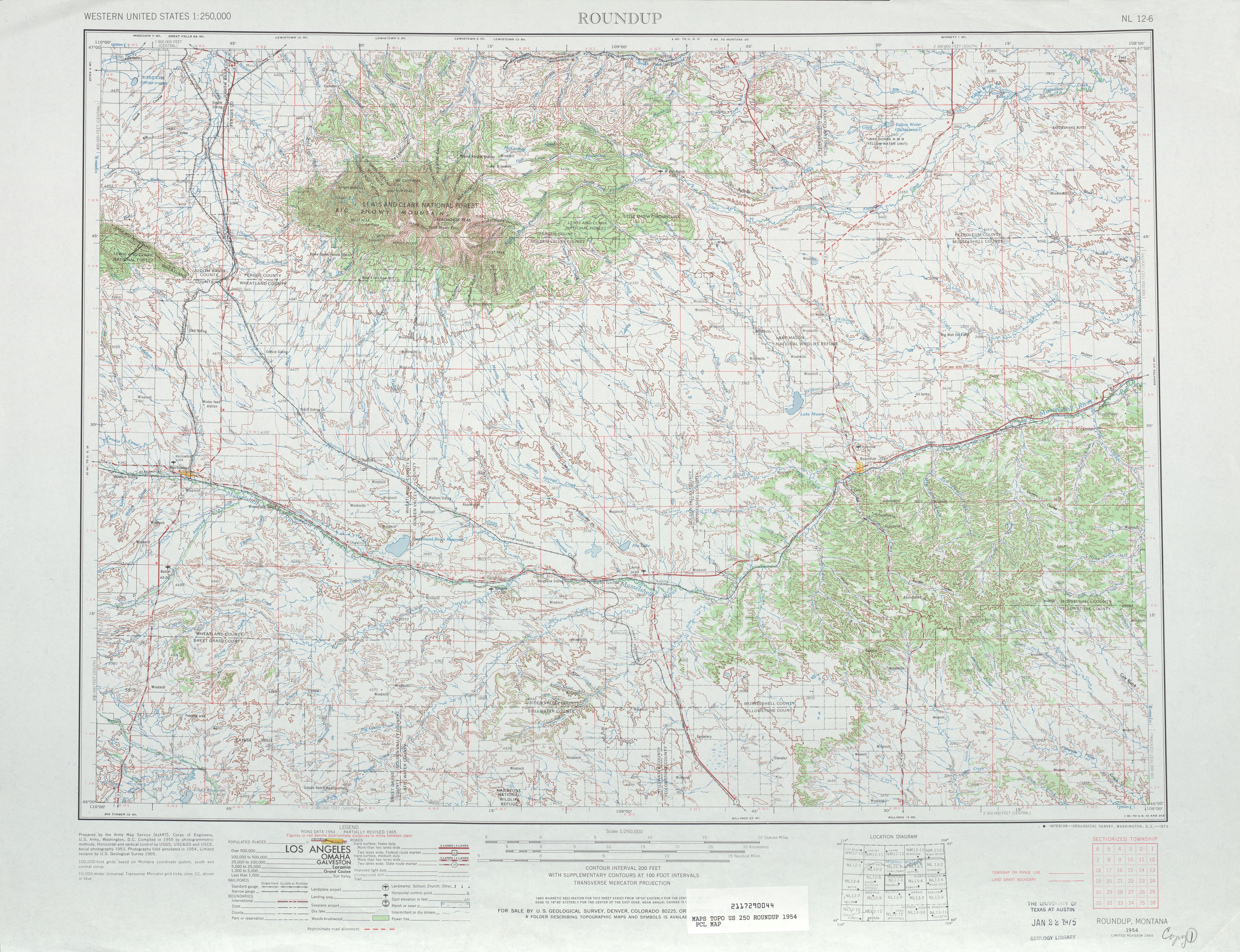 Hoja Roundup del Mapa Topográfico de los Estados Unidos 1965