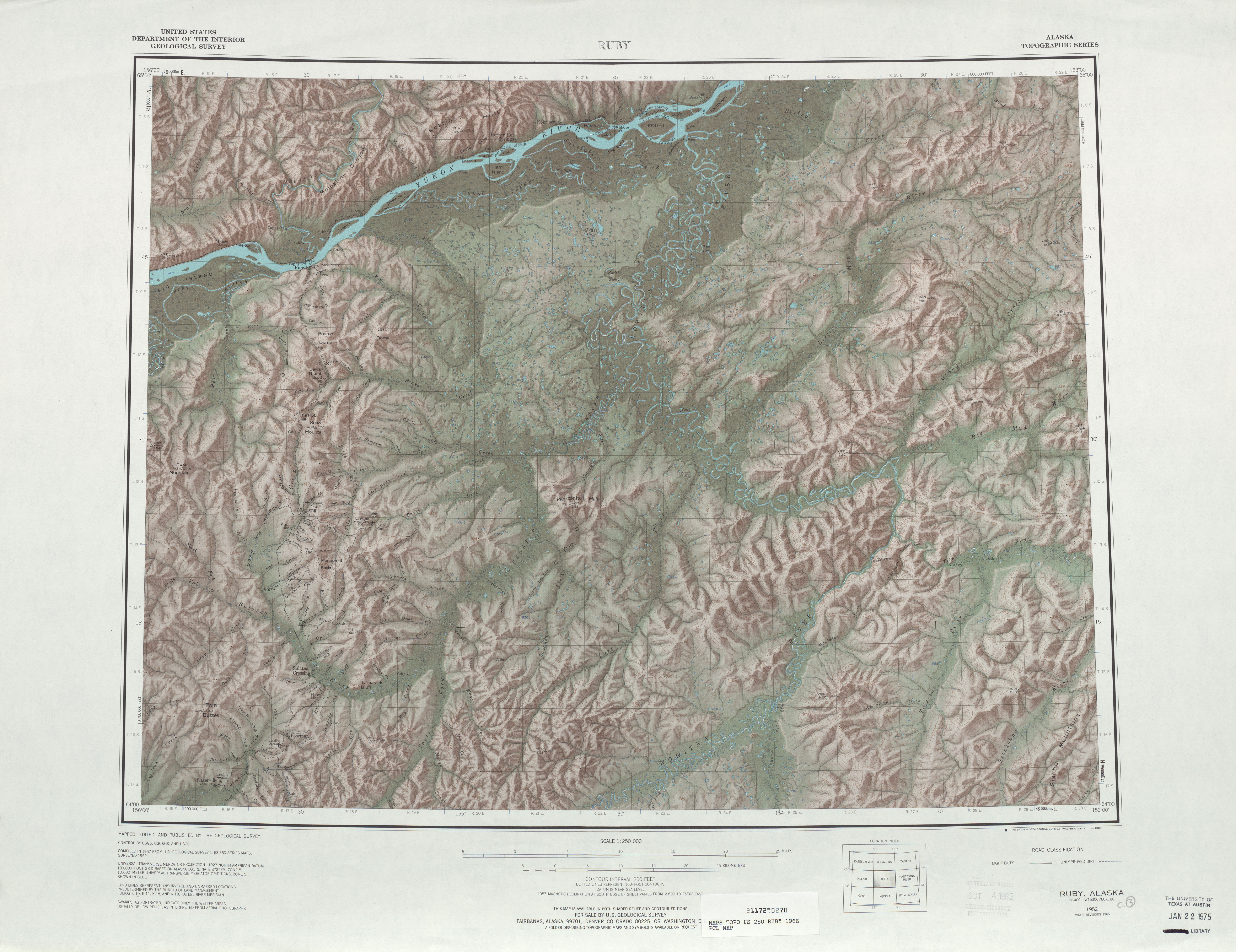 Ruby Topographic Map Sheet, United States 1966