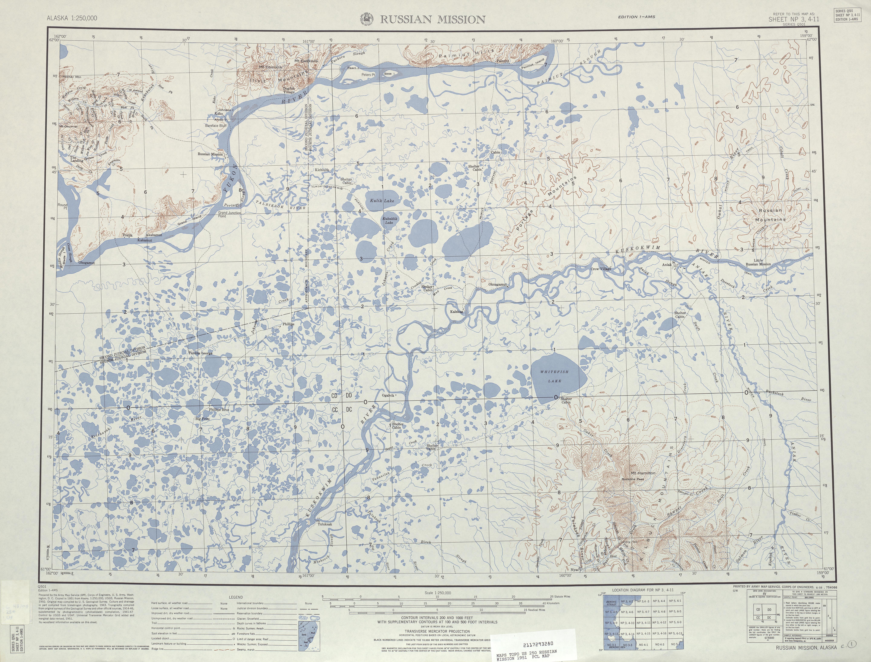 Hoja Russian Mission del Mapa Topográfico de los Estados Unidos 1951