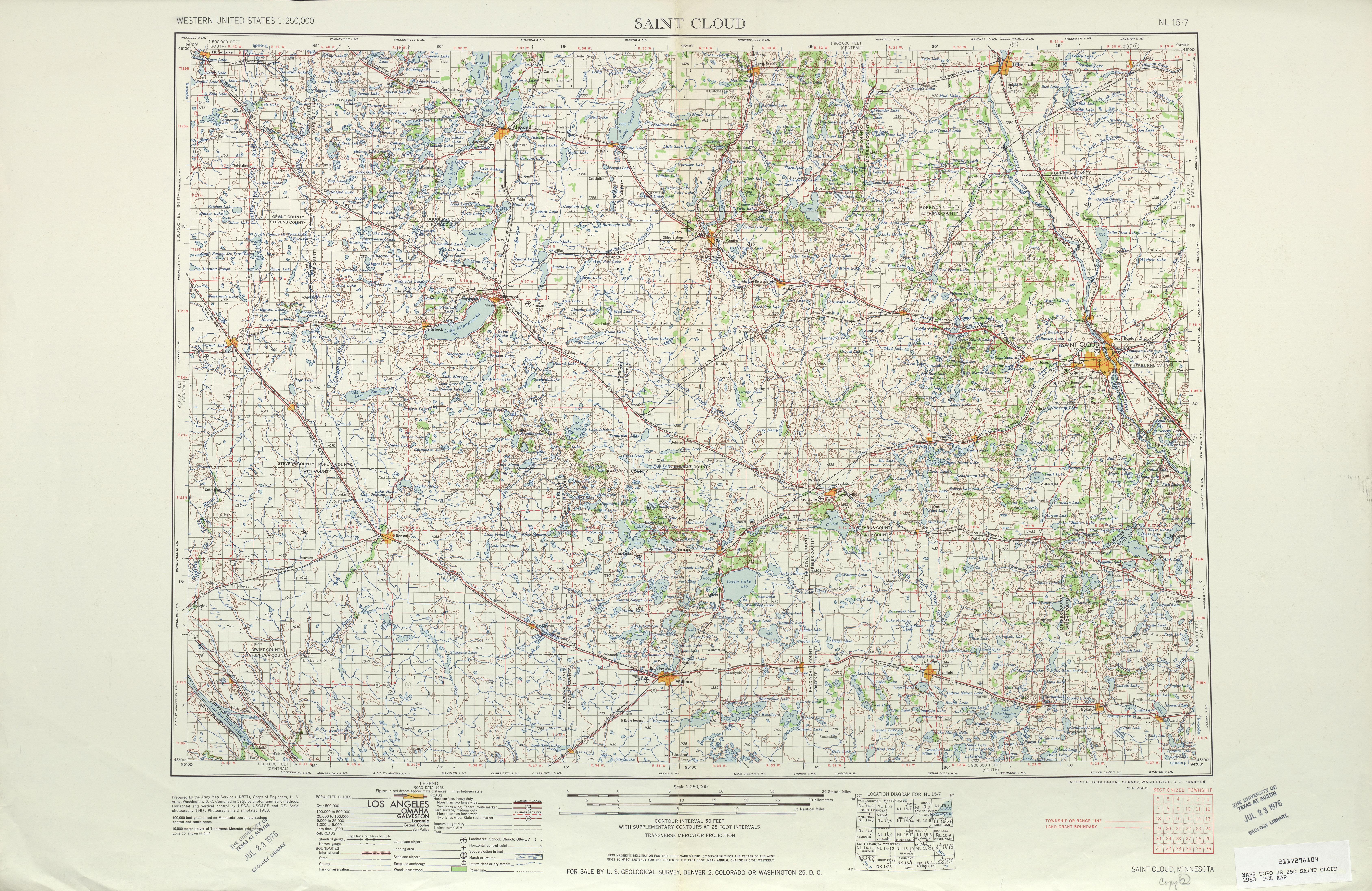 Saint Cloud Topographic Map Sheet, United States 1953