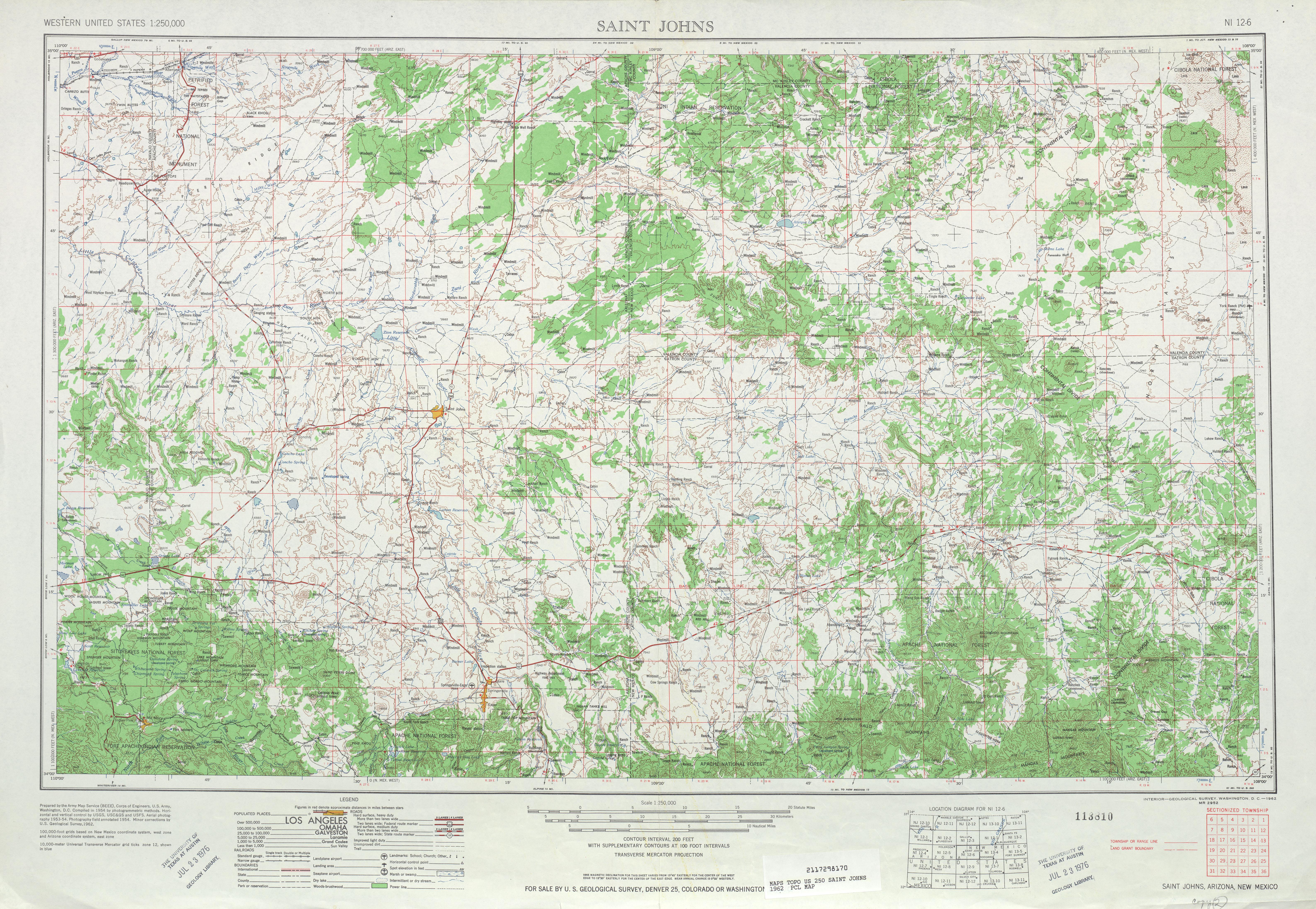 Hoja Saint Johns del Mapa Topográfico de los Estados Unidos 1962