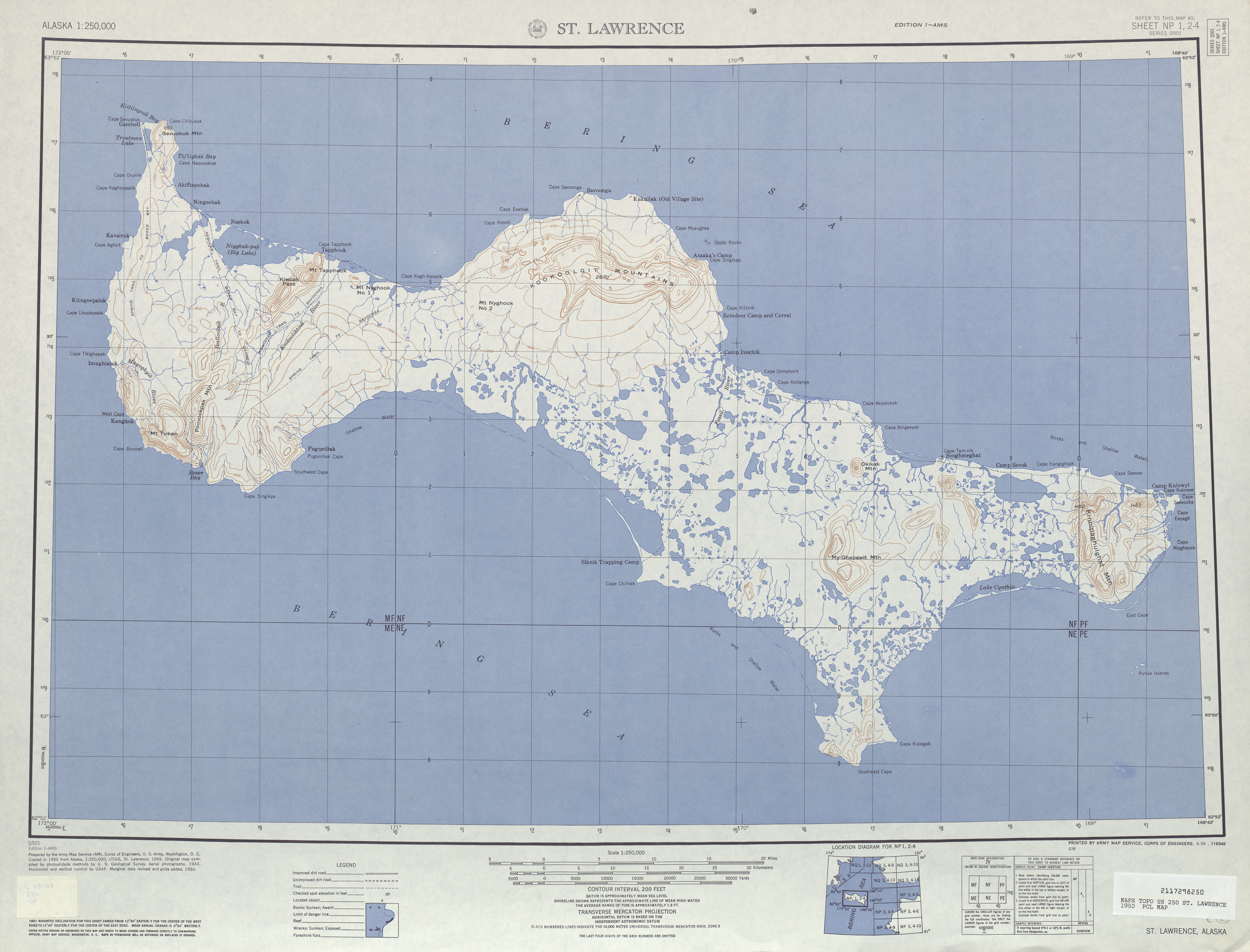 Saint Lawrence Topographic Map Sheet, United States 1950