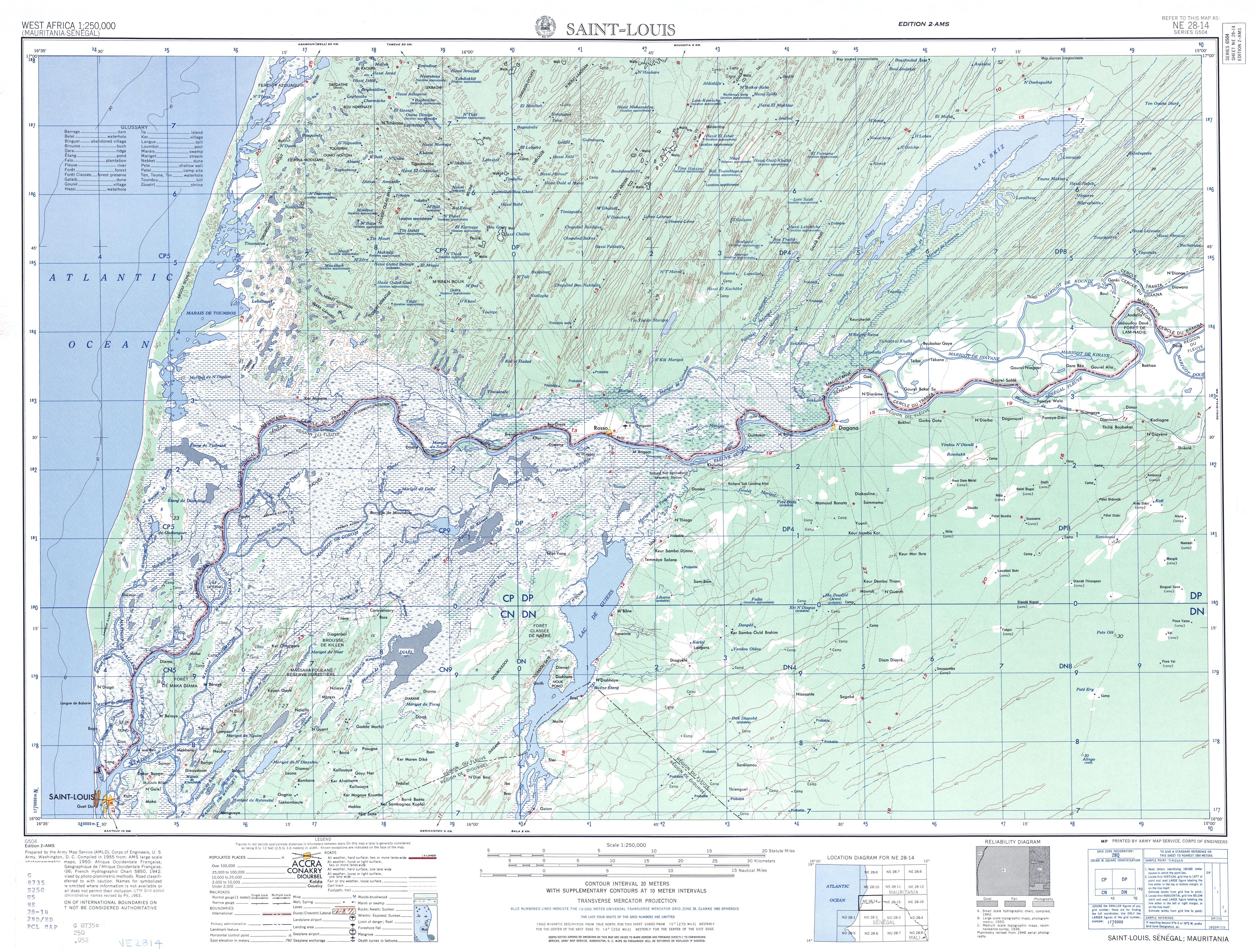 Hoja Saint Louis del Mapa Topográfico de África Occidental 1955