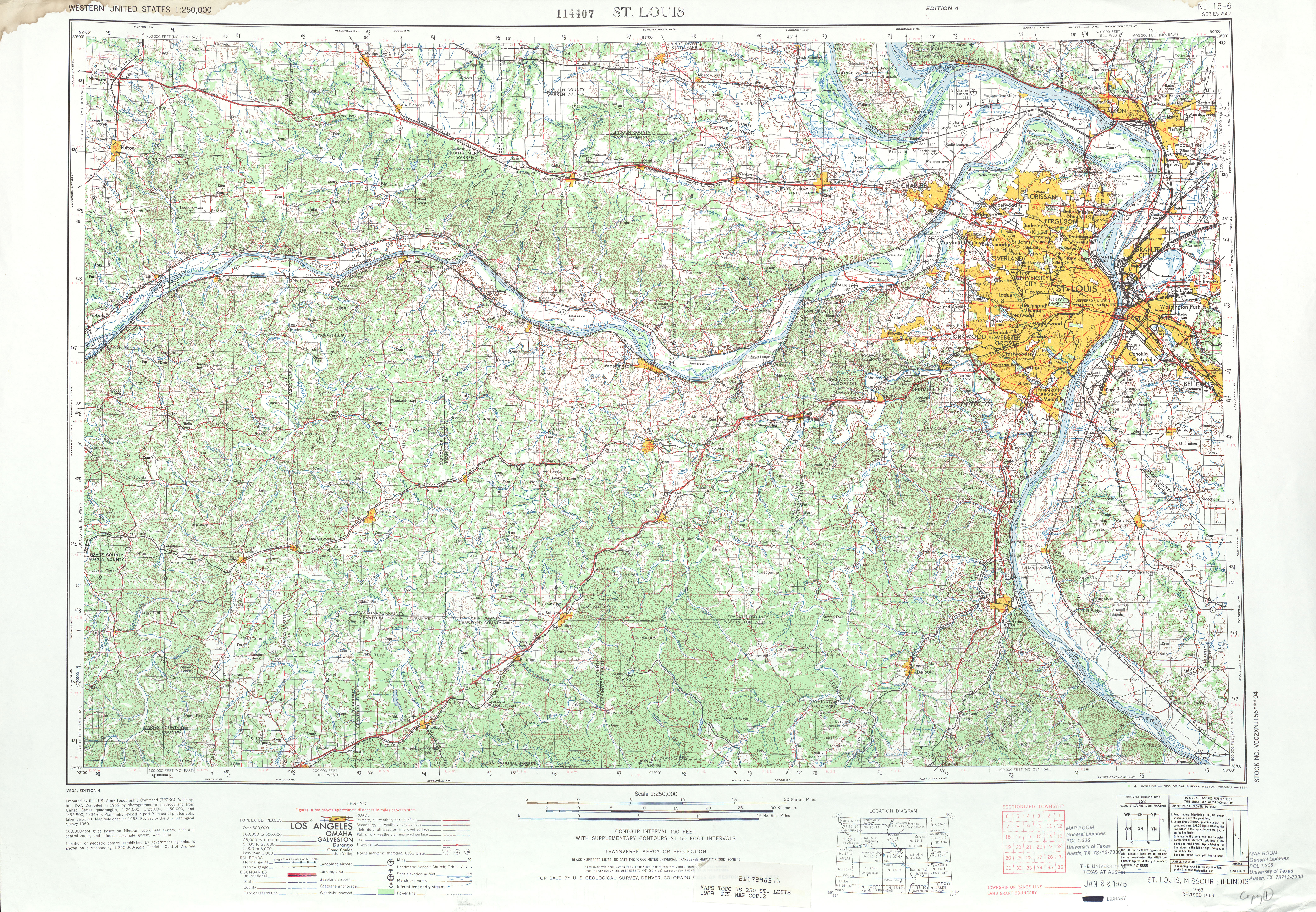 Saint Louis Topographic Map Sheet, United States 1969