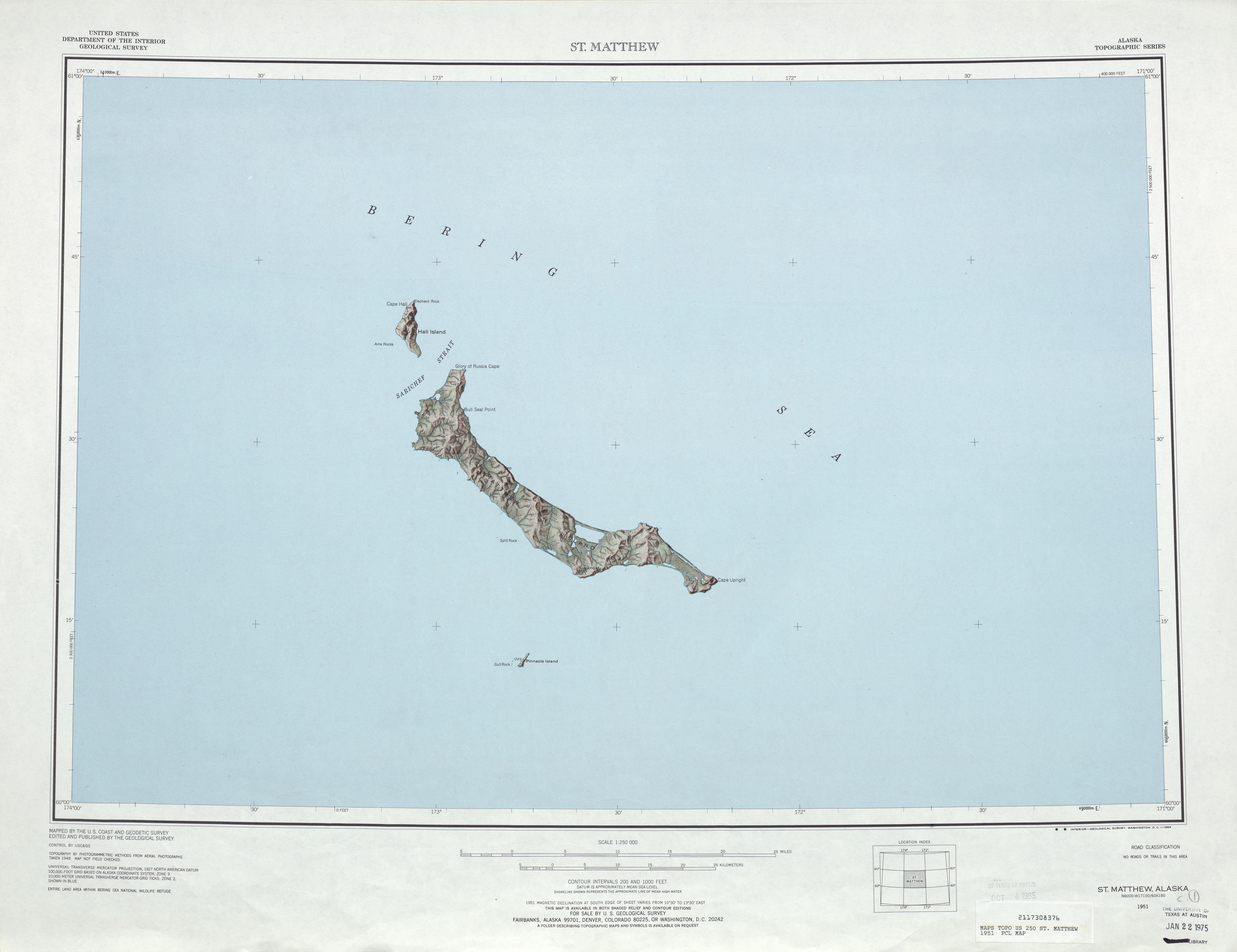 Hoja Saint Matthew del Mapa Topográfico de los Estados Unidos 1951
