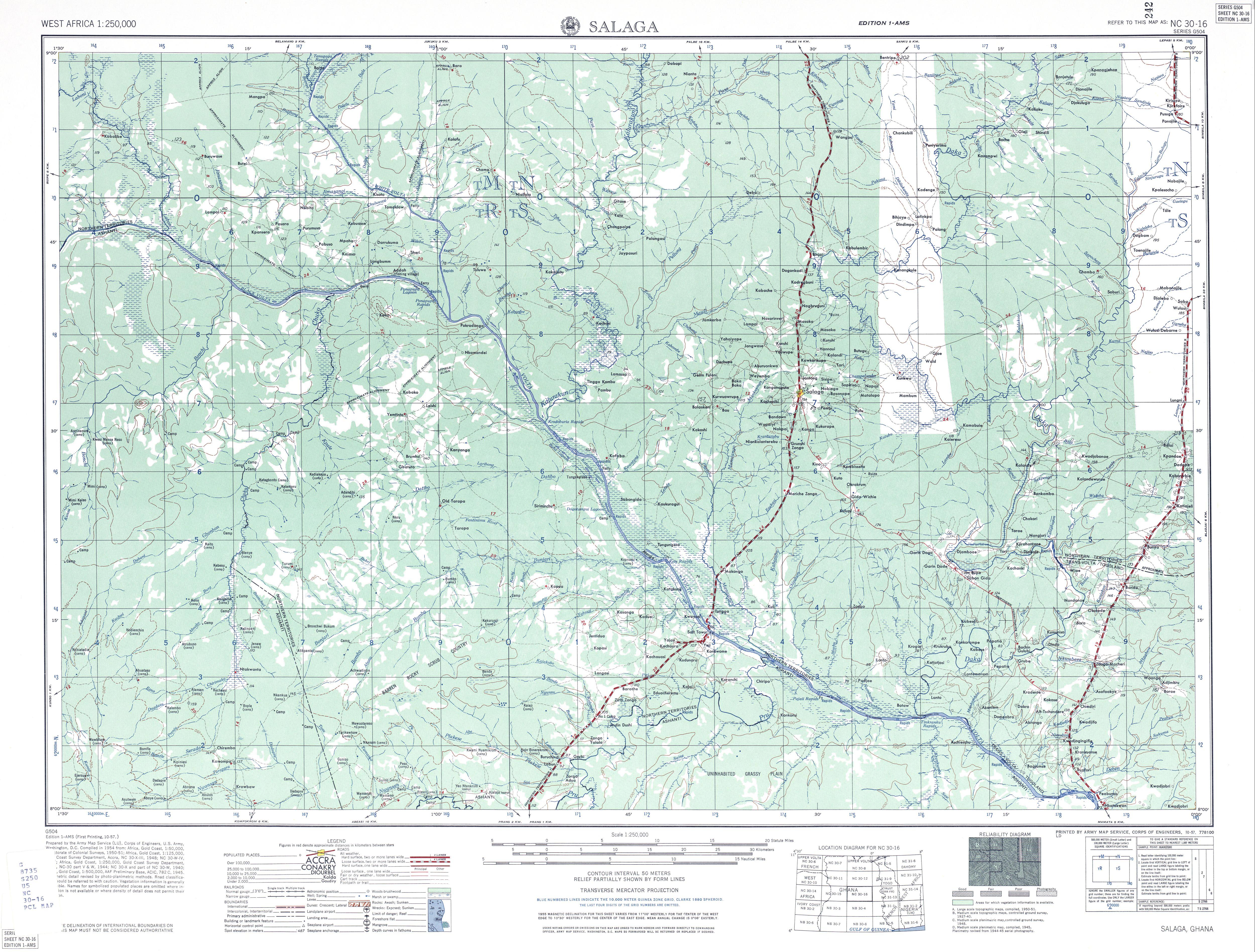 Hoja Salaga del Mapa Topográfico de África Occidental 1955