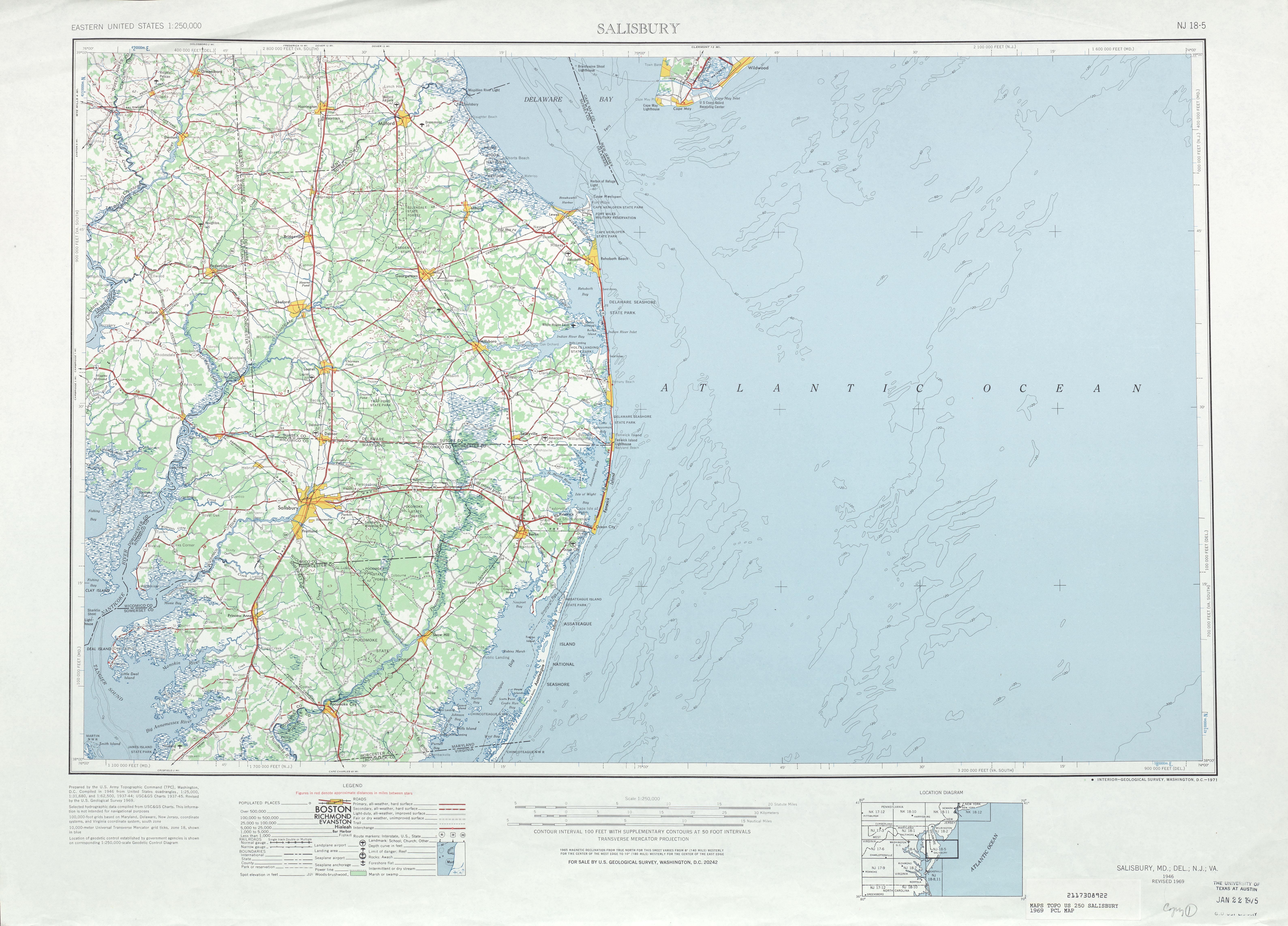 Hoja Salisbury del Mapa Topográfico de los Estados Unidos 1969