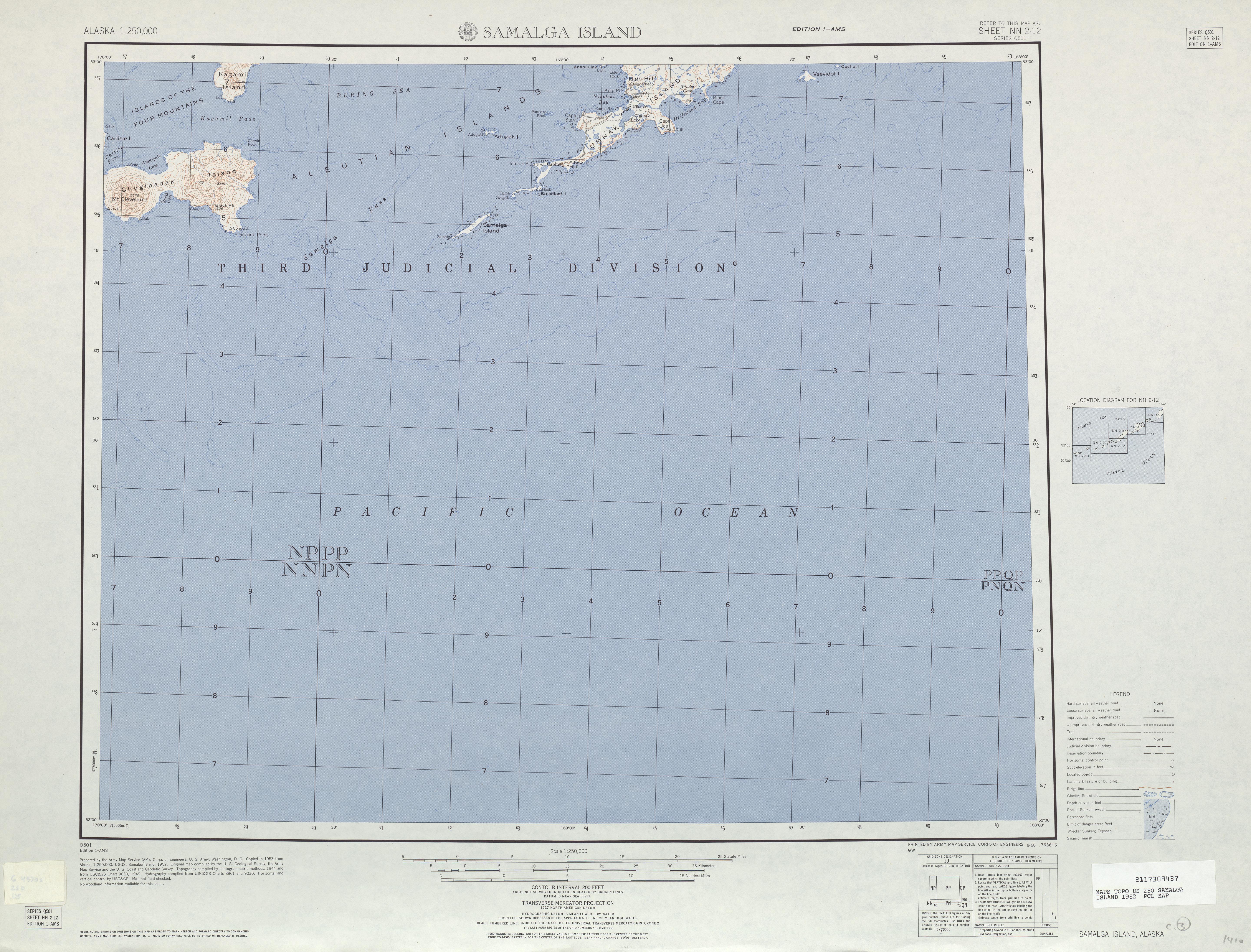 Hoja Samalga Island del Mapa Topográfico de los Estados Unidos 1952