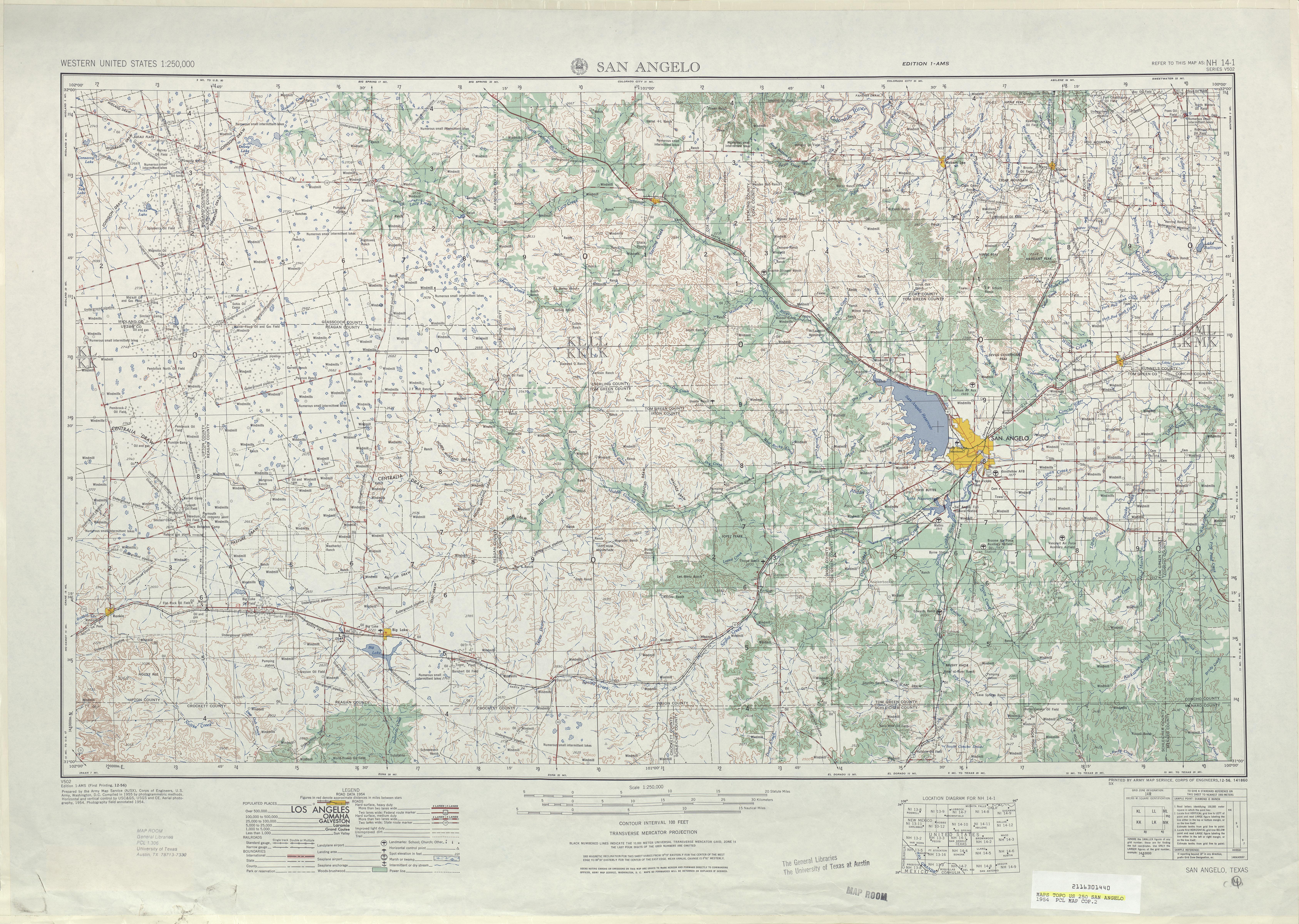 Hoja San Angelo del Mapa Topográfico de los Estados Unidos 1954