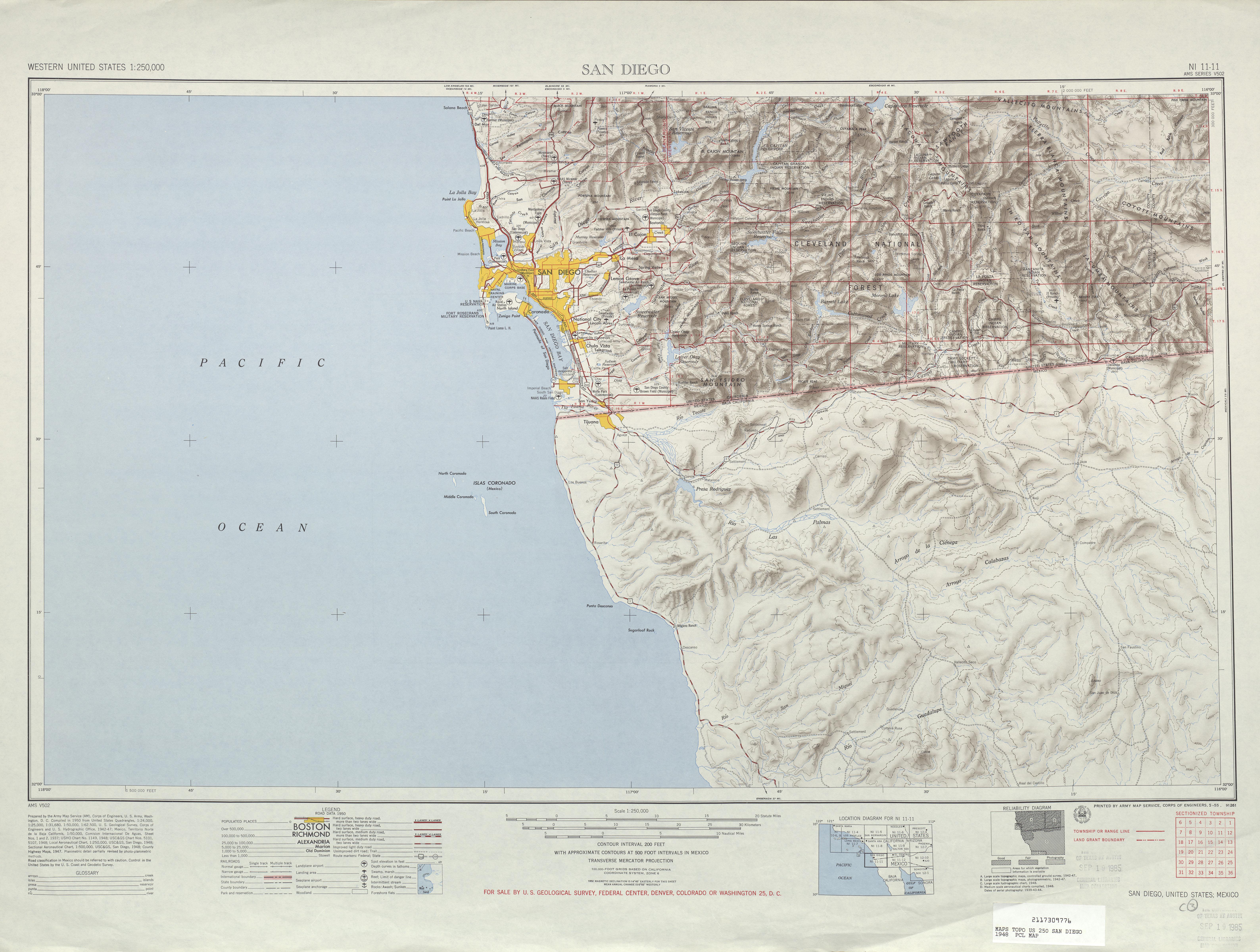 Hoja San Diego del Mapa Topográfico de los Estados Unidos 1948