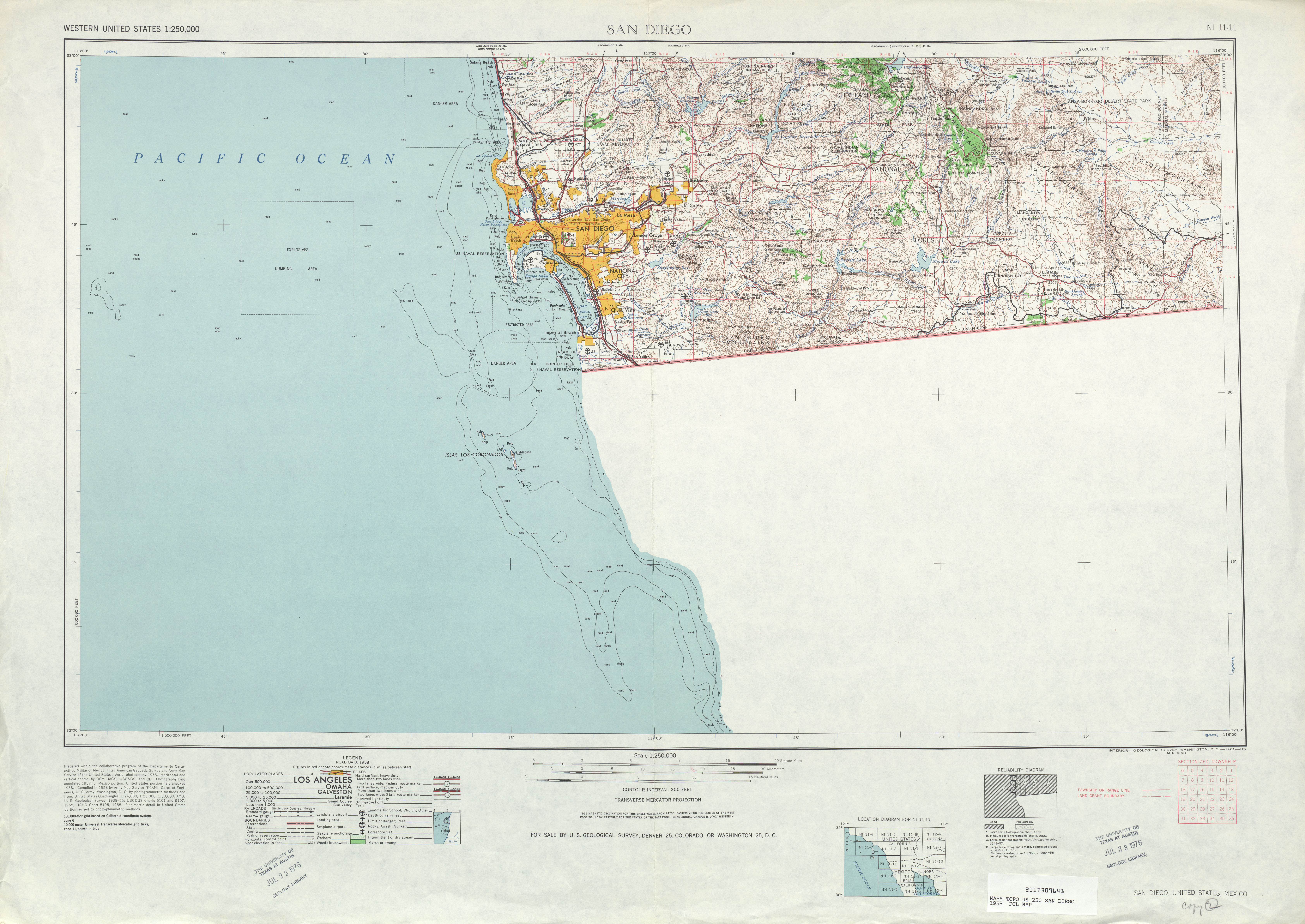 San Diego Topographic Map Sheet, United States 1958