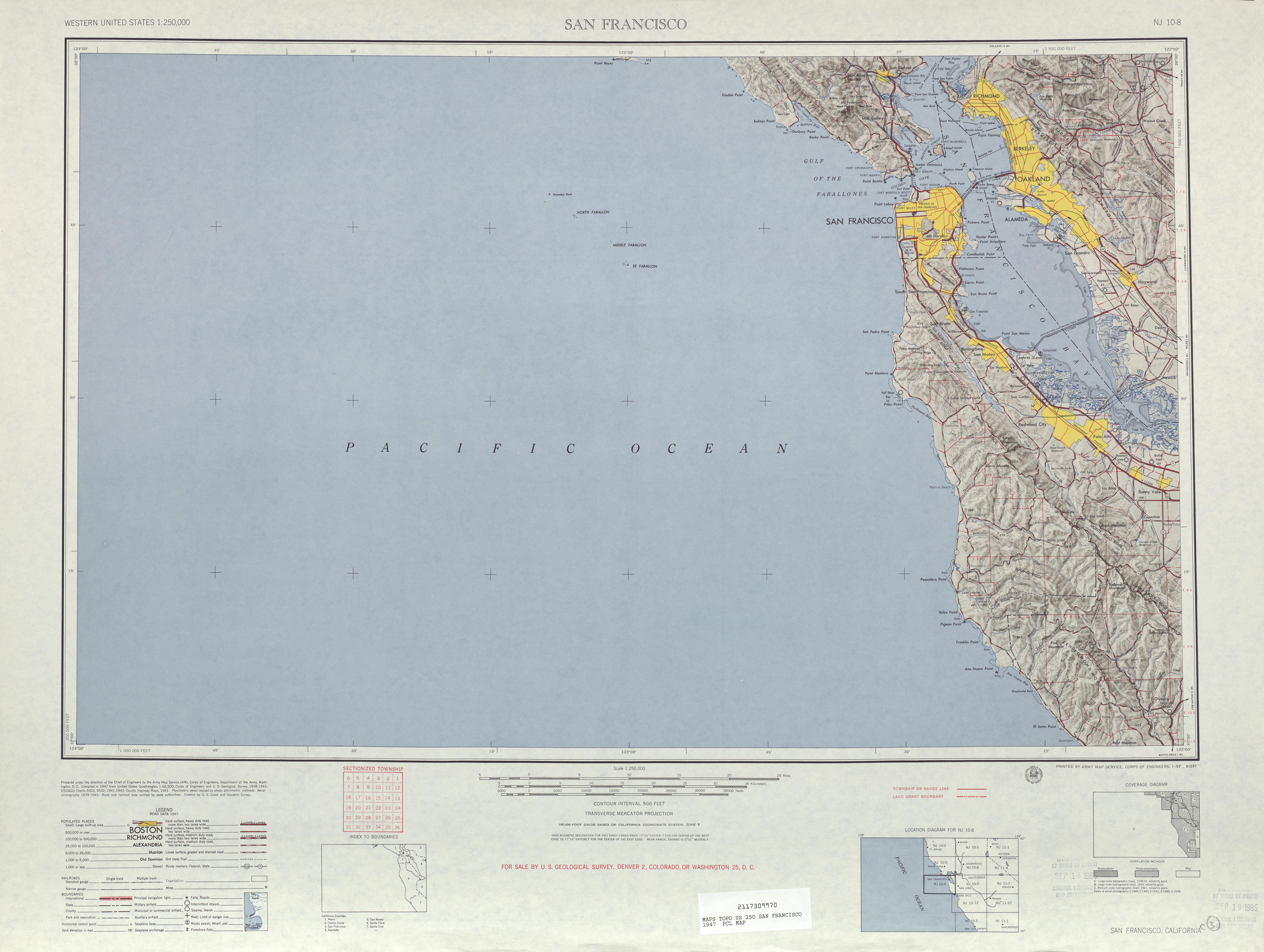 Hoja San Francisco del Mapa Topográfico de los Estados Unidos 1947
