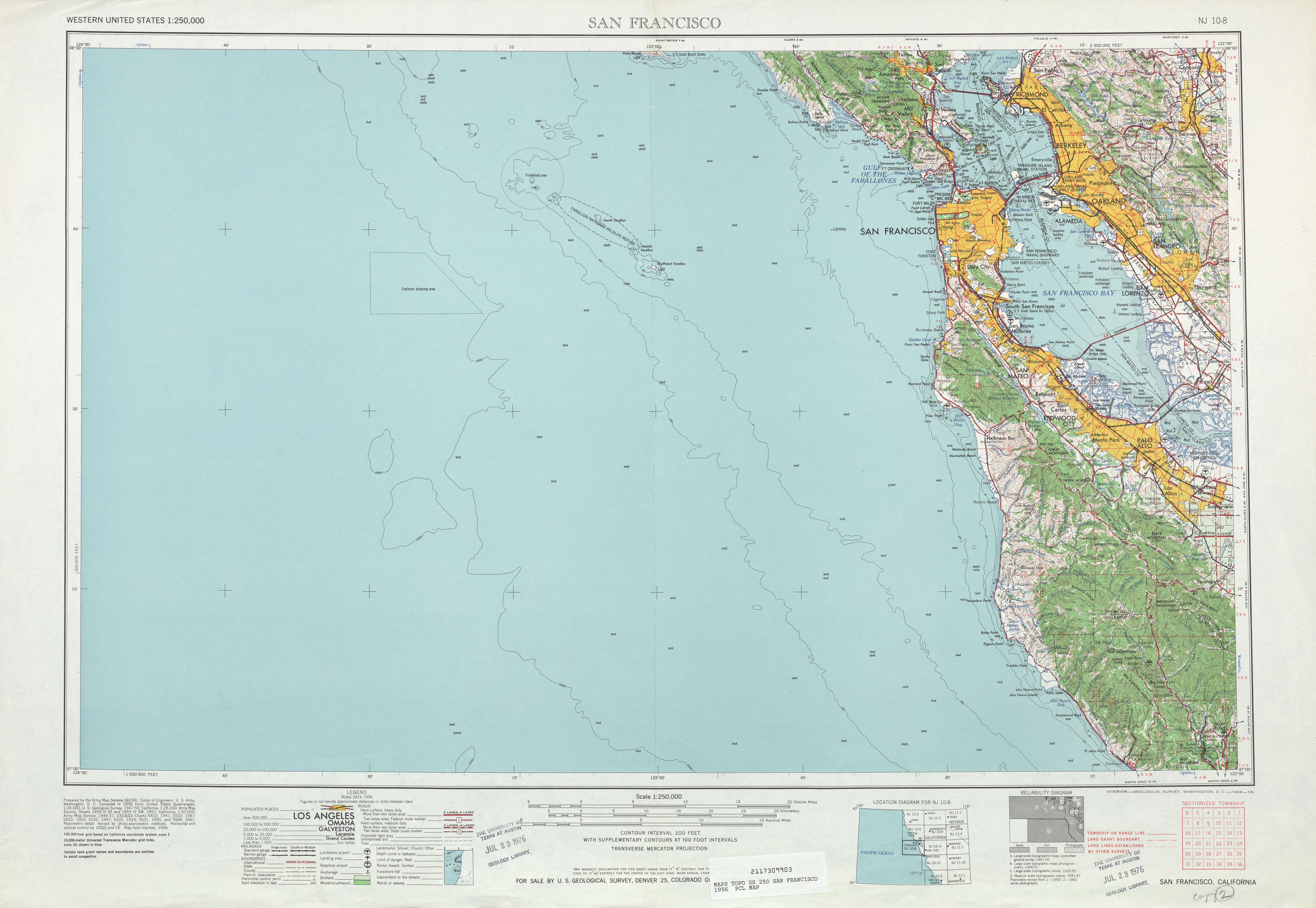 Hoja San Francisco del Mapa Topográfico de los Estados Unidos 1956