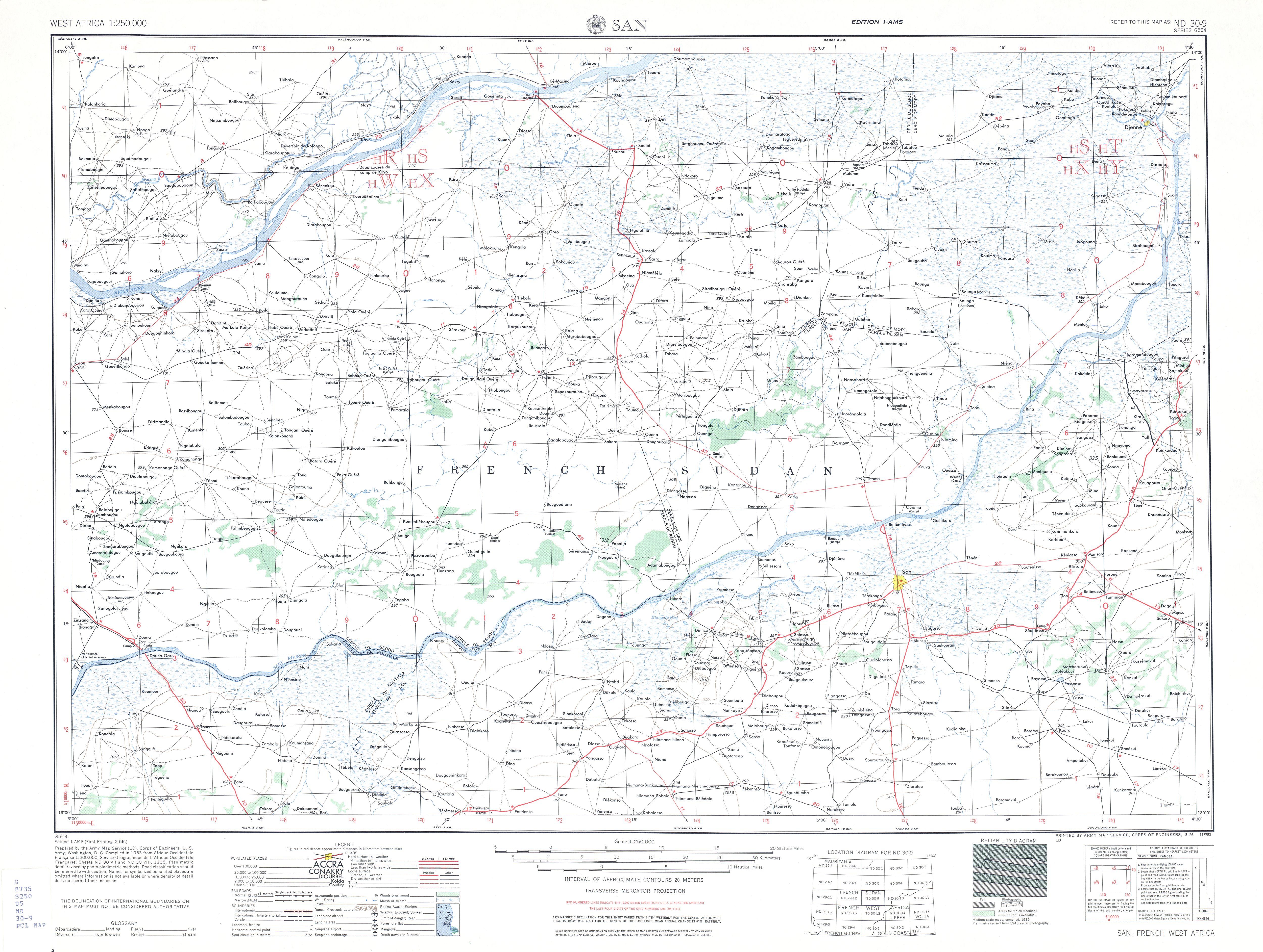 Hoja San del Mapa Topográfico de África Occidental 1955