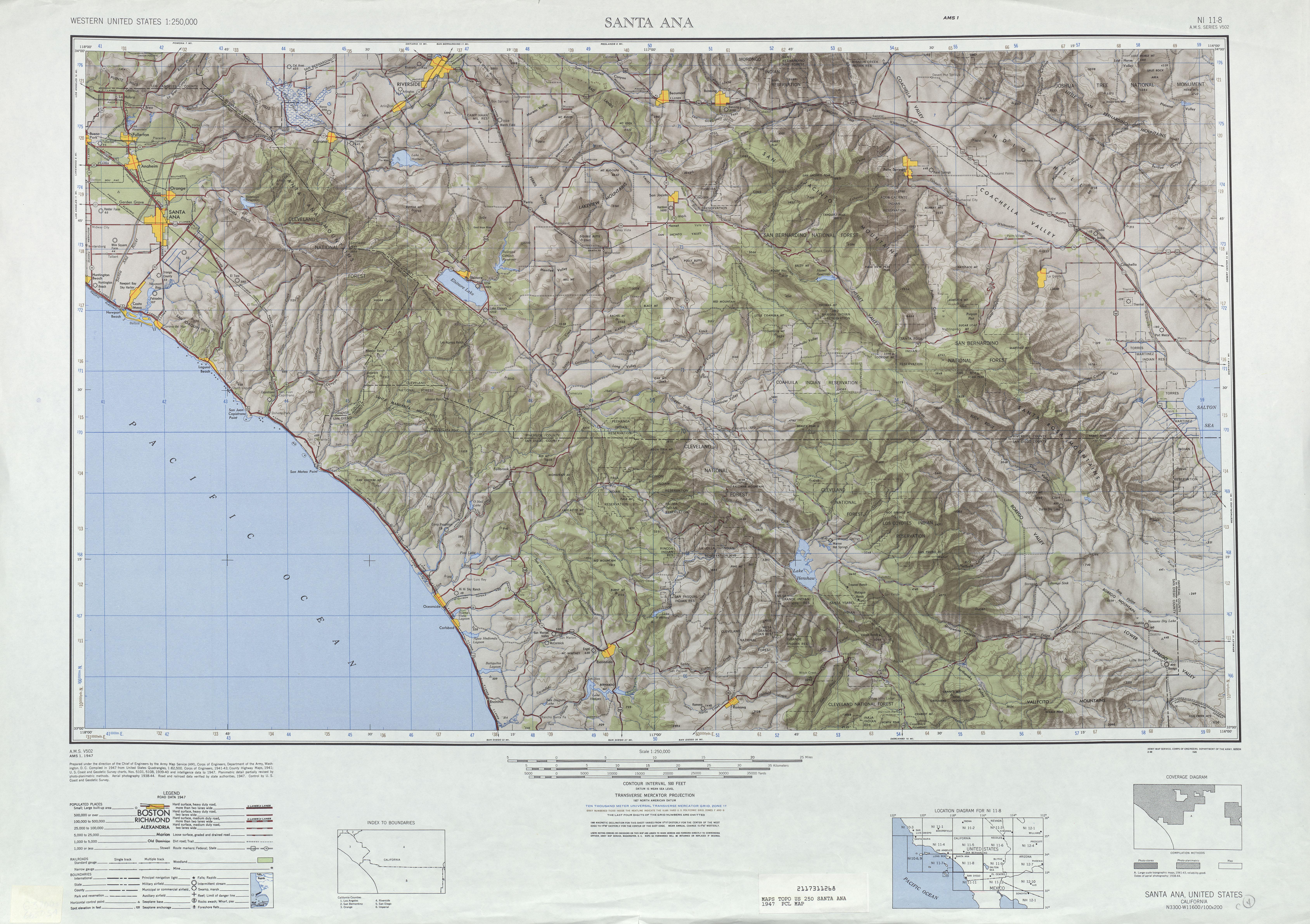 Hoja Santa Ana  del Mapa Topográfico de los Estados Unidos 1947