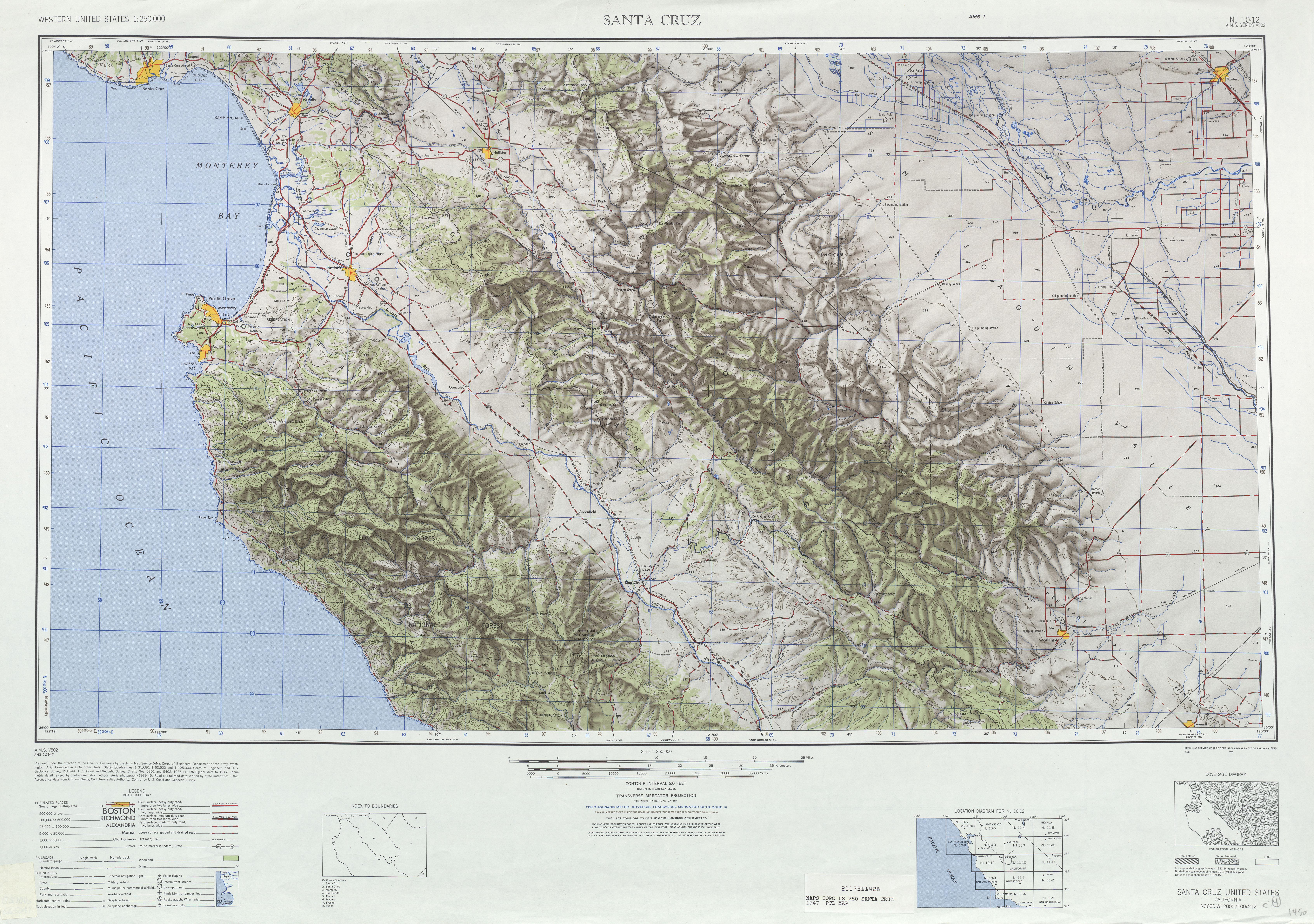 Hoja Santa Cruz del Mapa Topográfico de los Estados Unidos 1947