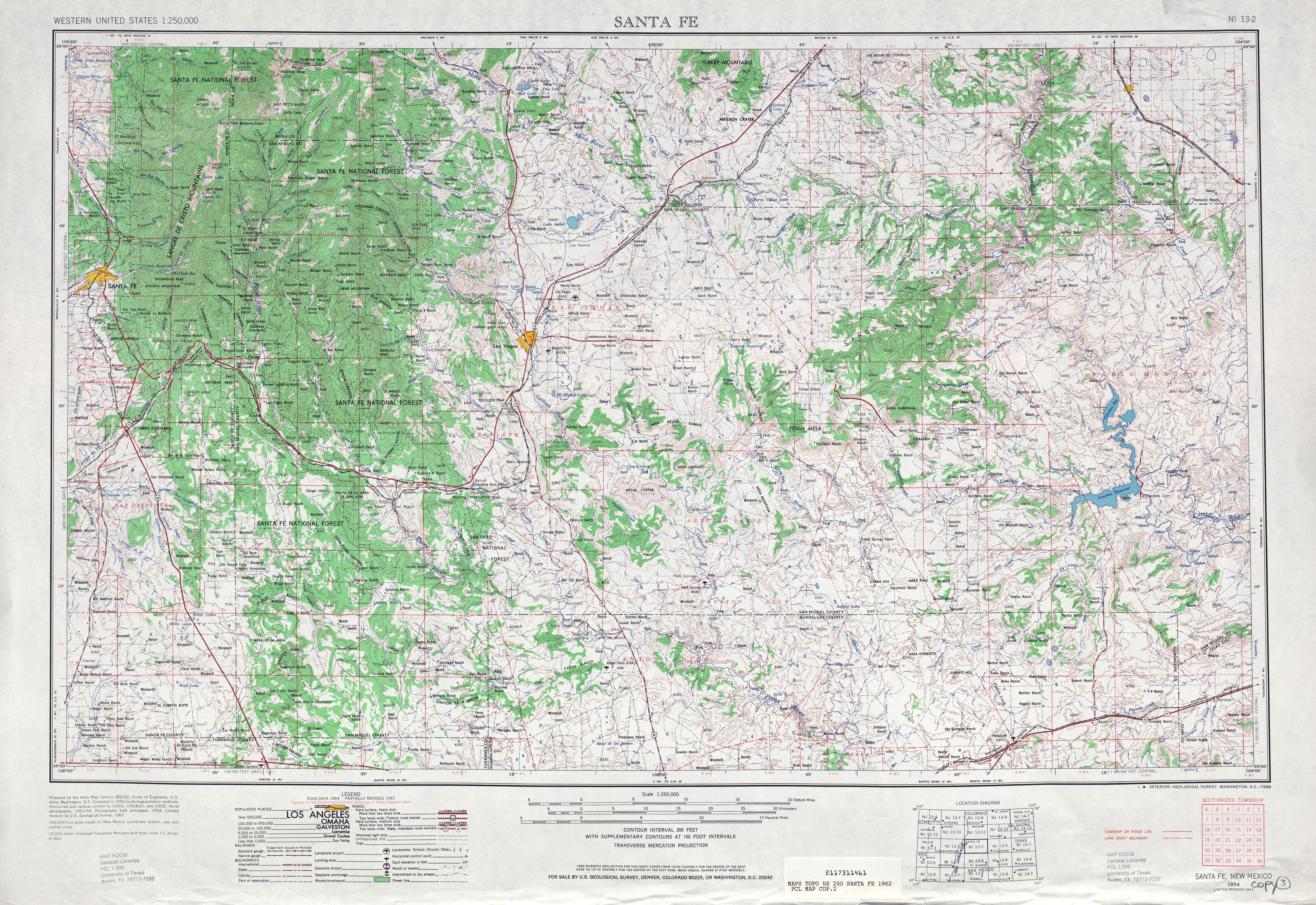 Hoja Santa Fe del Mapa Topográfico de los Estados Unidos 1962