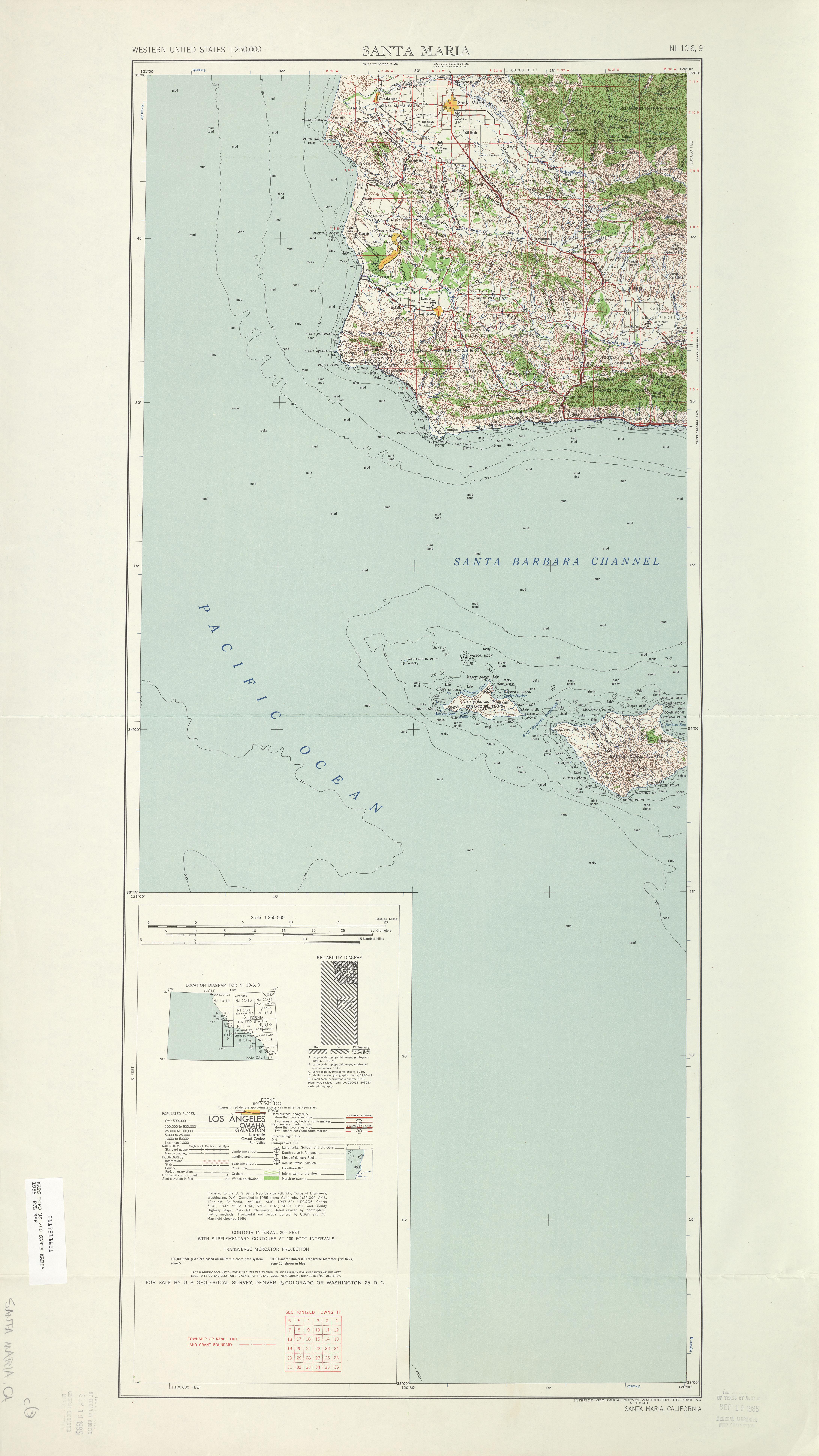 Santa Maria Topographic Map Sheet, United States 1956