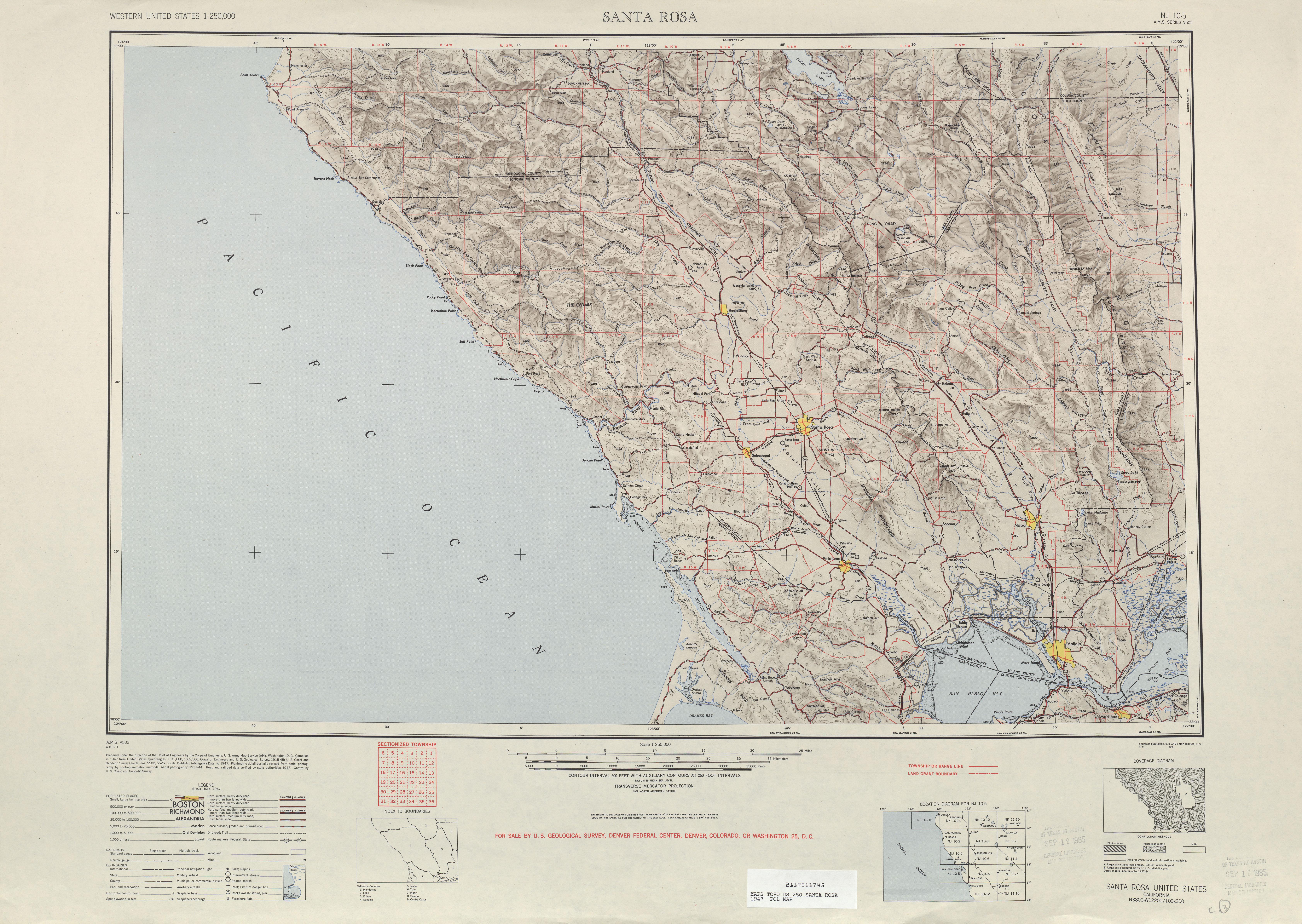 Hoja Santa Rosa del Mapa Topográfico de los Estados Unidos 1947