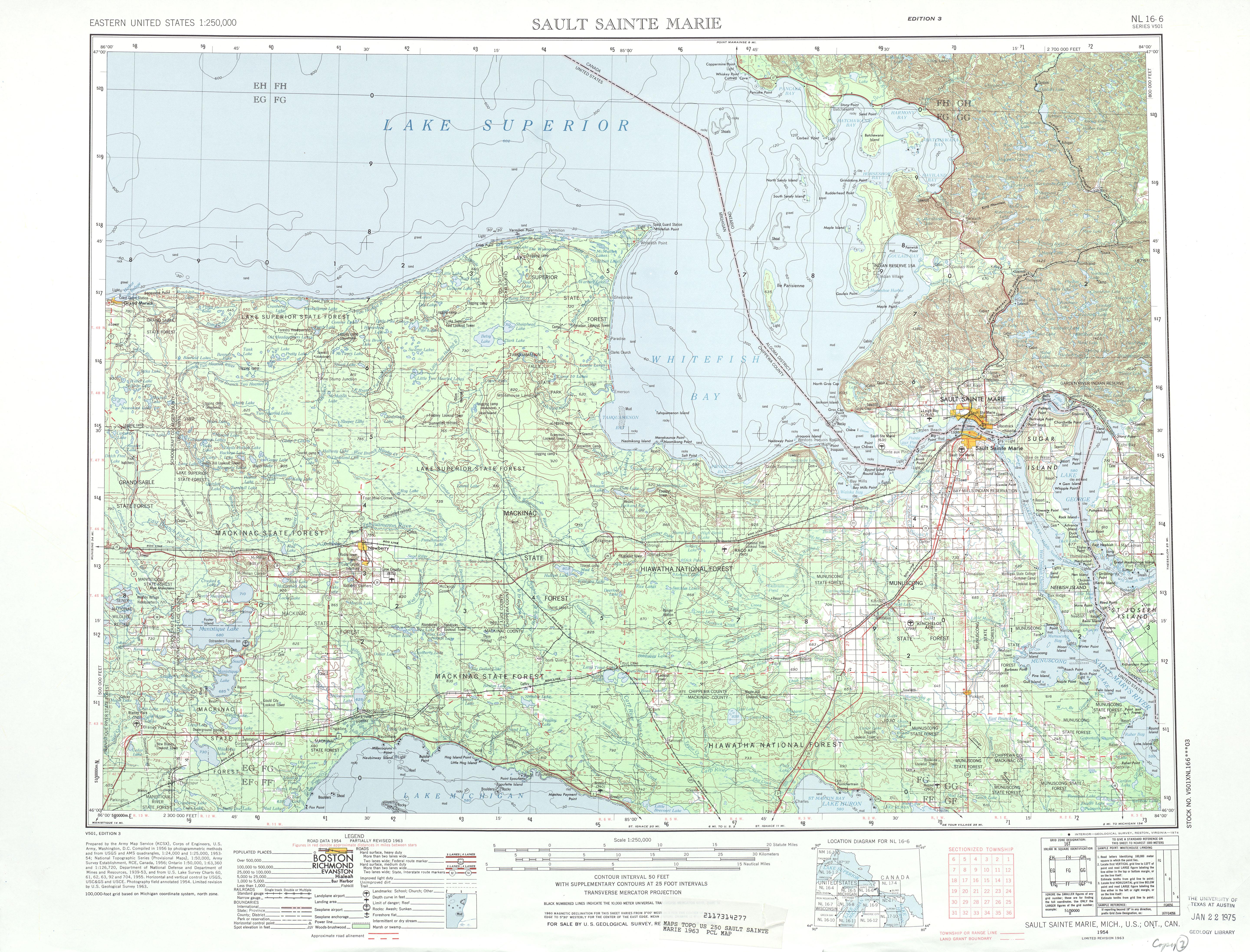 Hoja Sault Sainte Marie del Mapa Topográfico de los Estados Unidos 1963