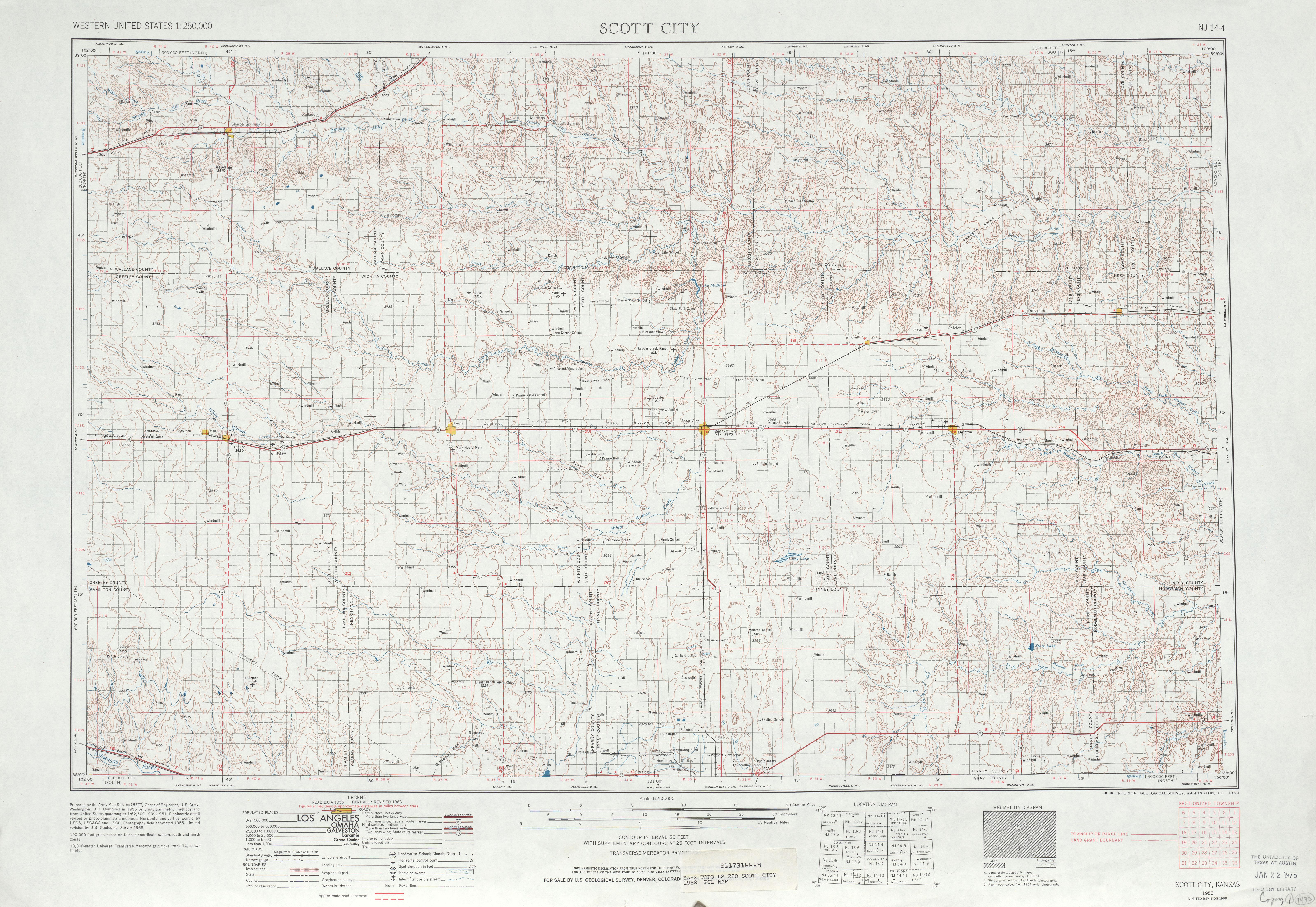 Hoja Scott City del Mapa Topográfico de los Estados Unidos 1968