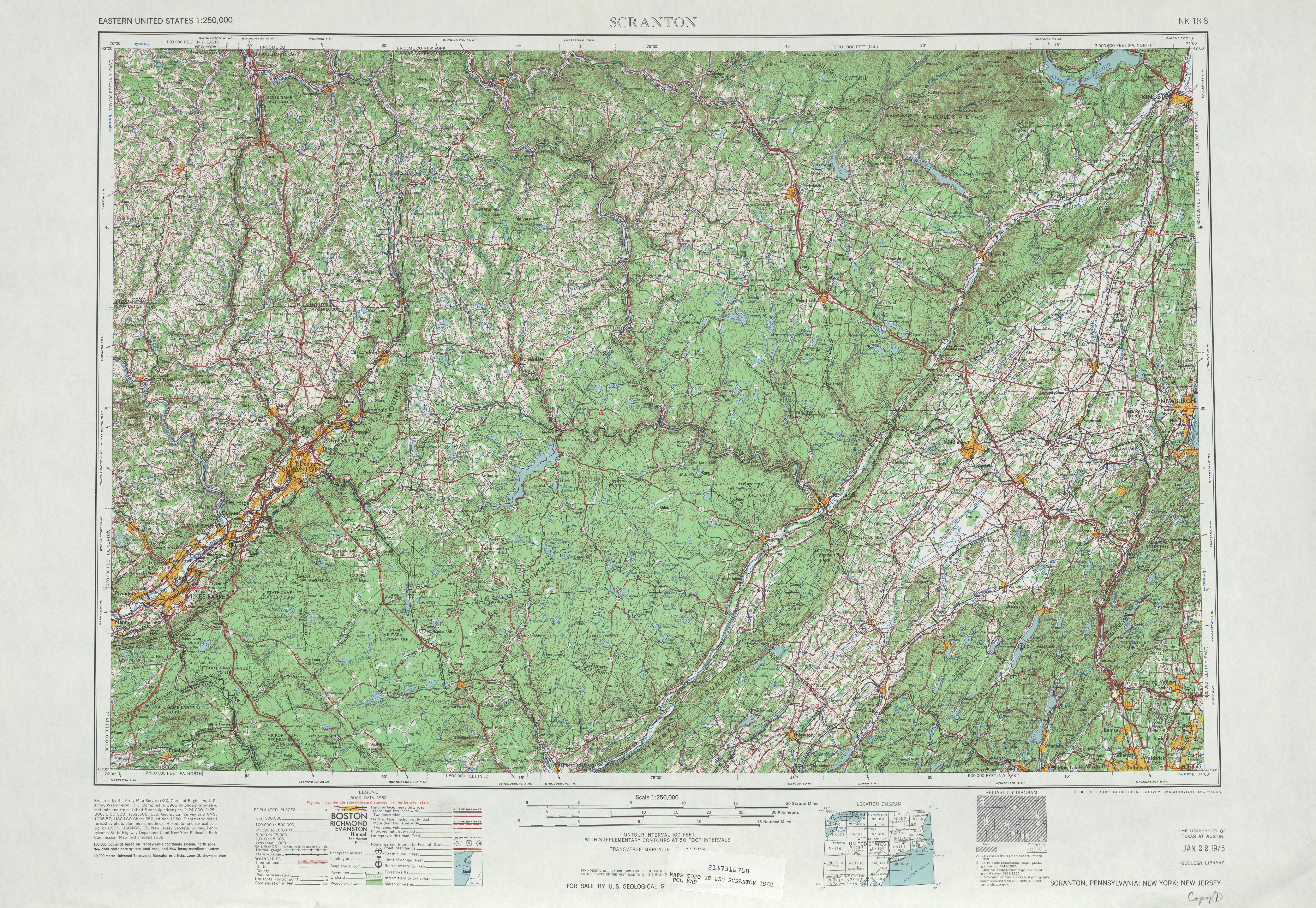 Hoja Scranton del Mapa Topográfico de los Estados Unidos 1962