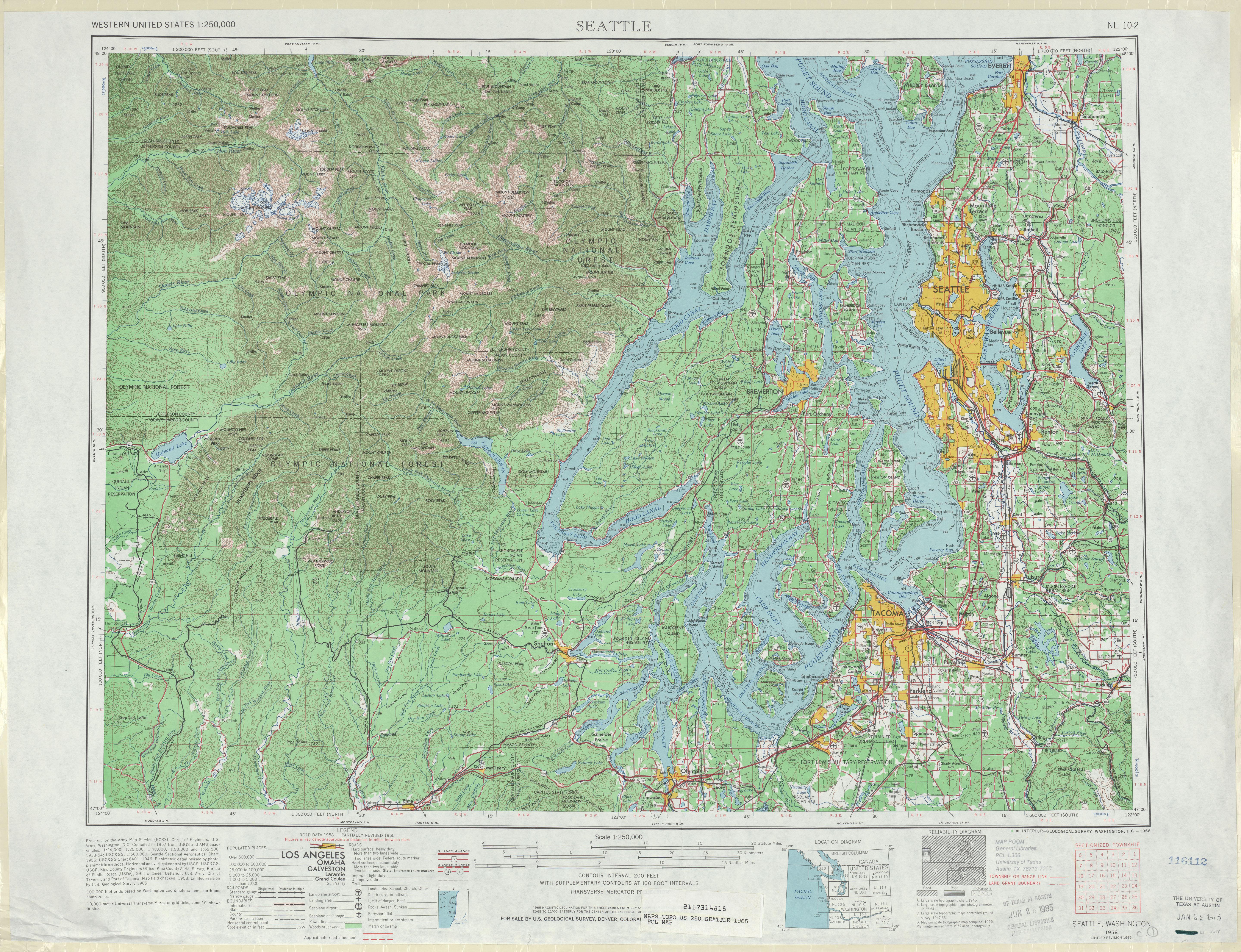 Hoja Seattle del Mapa Topográfico de los Estados Unidos 1965
