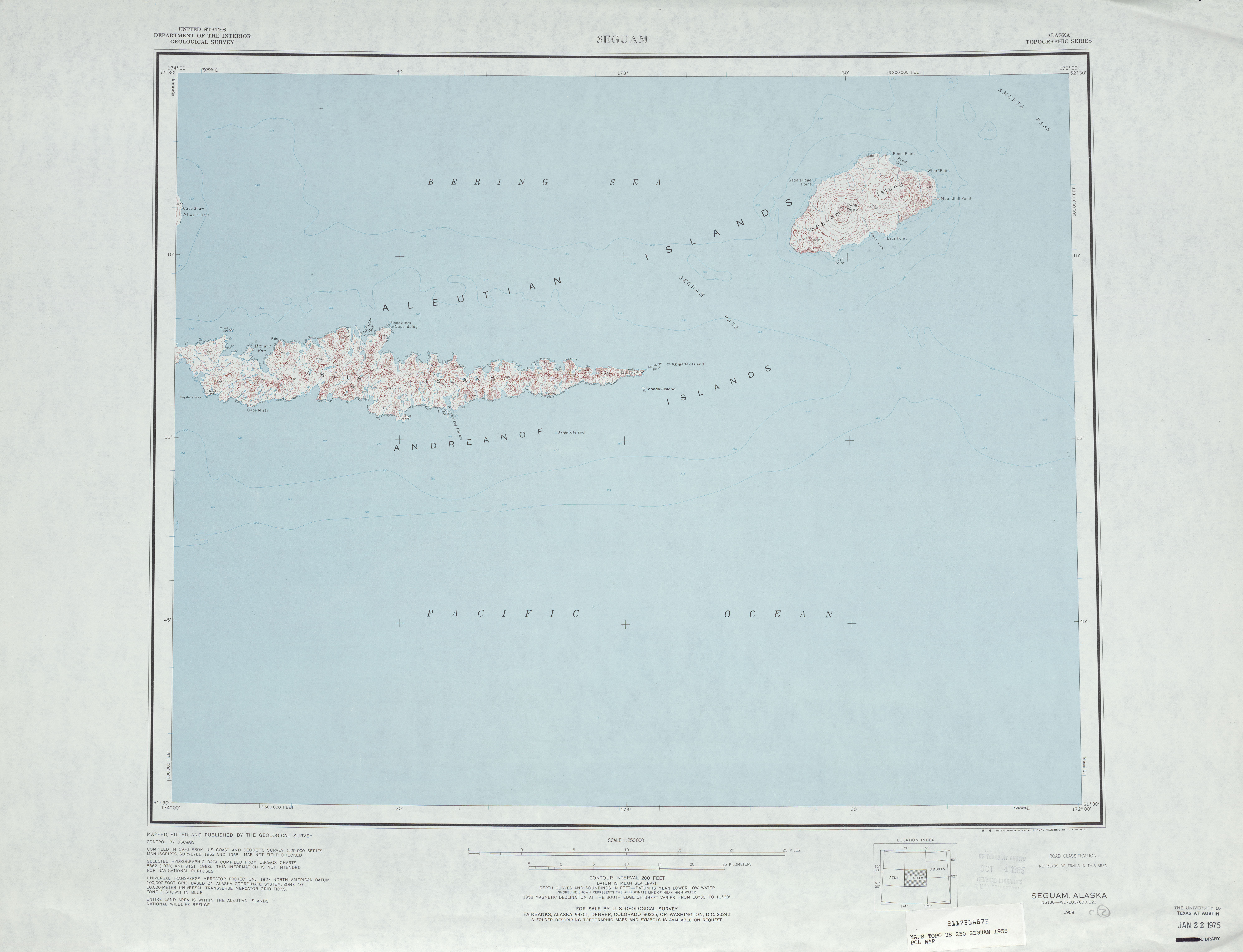 Seguam Topographic Map Sheet, United States 1958