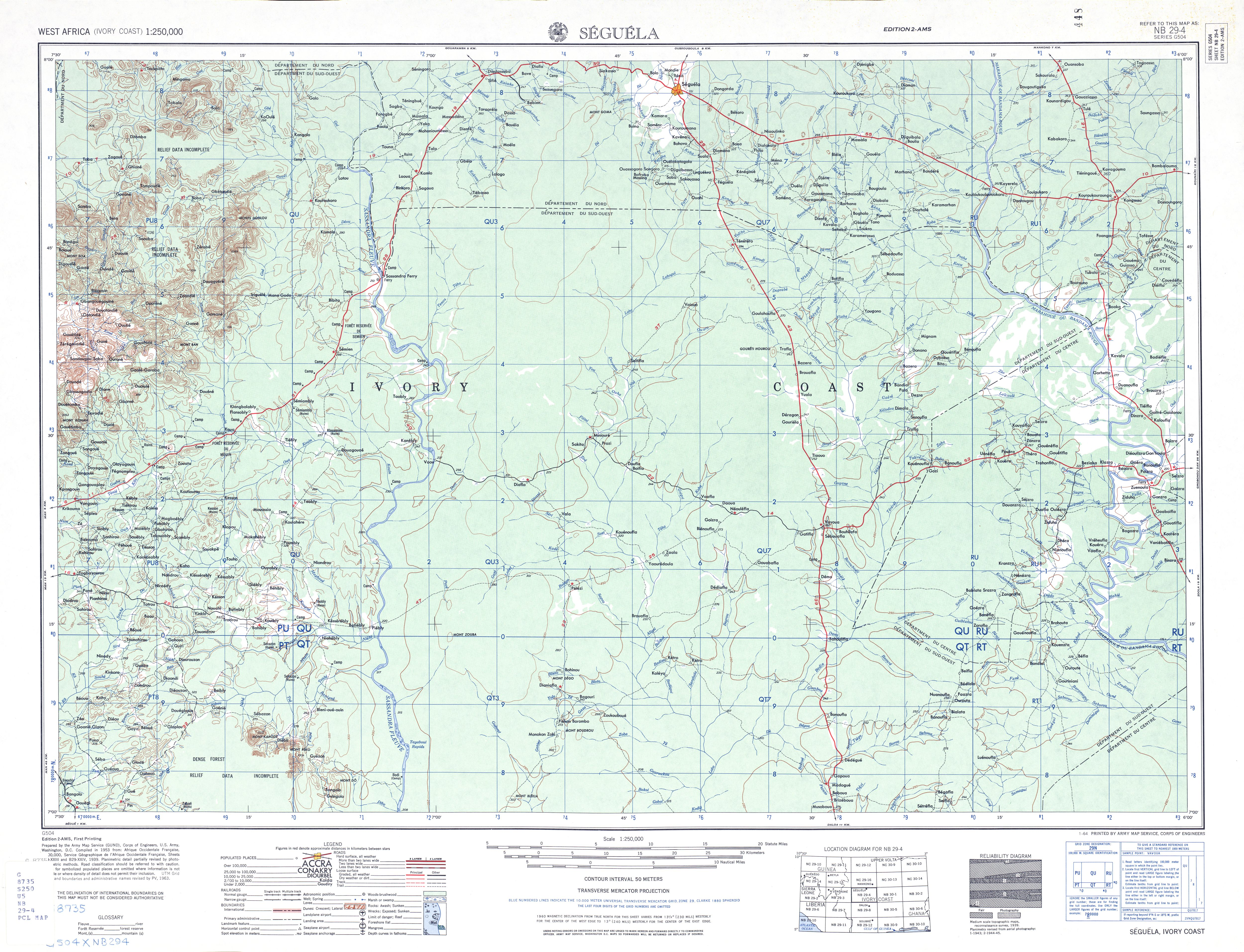 Seguela Topographic Map Sheet, Western Africa 1955