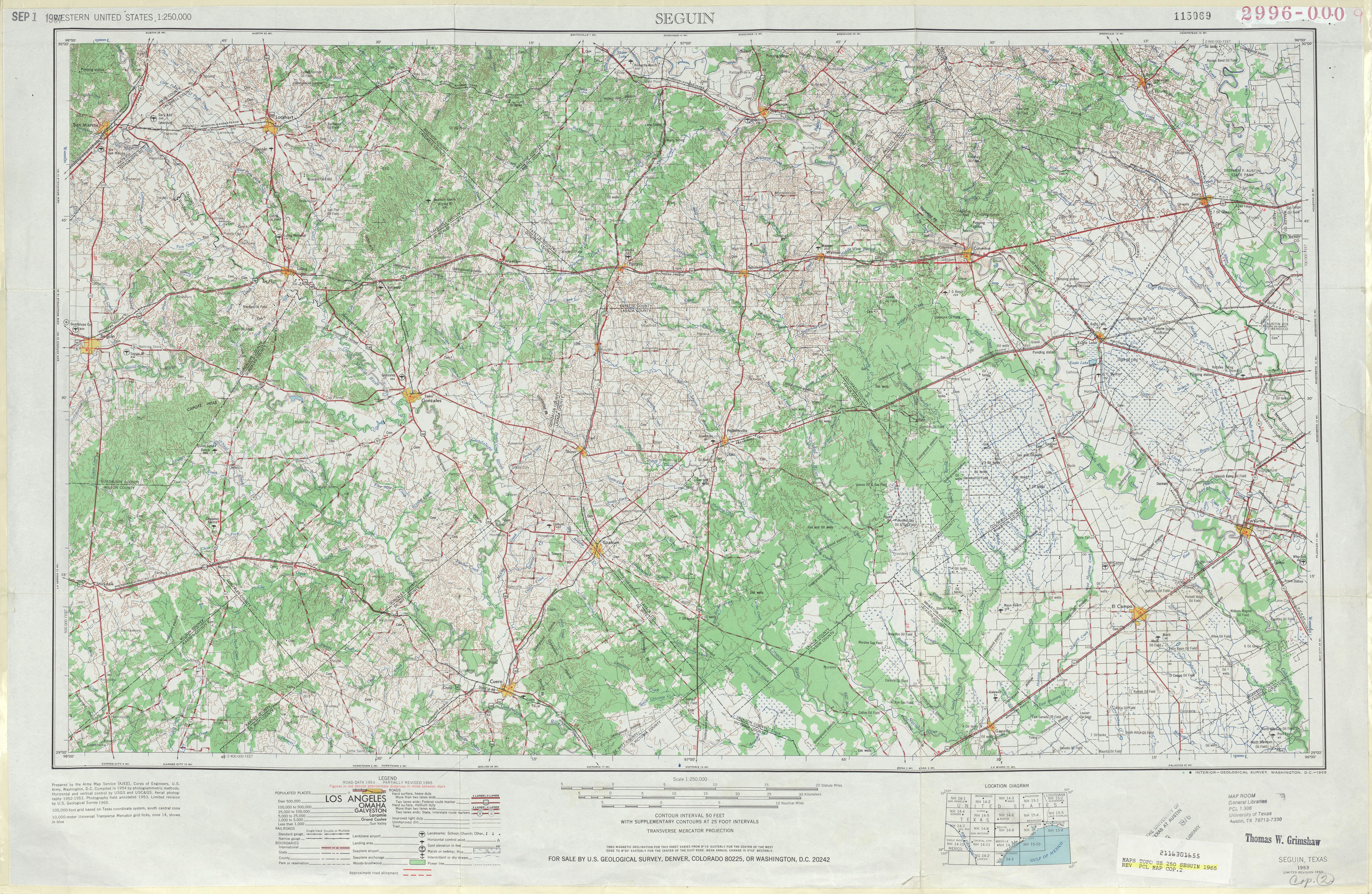 Hoja Seguin del Mapa Topográfico de los Estados Unidos 1965