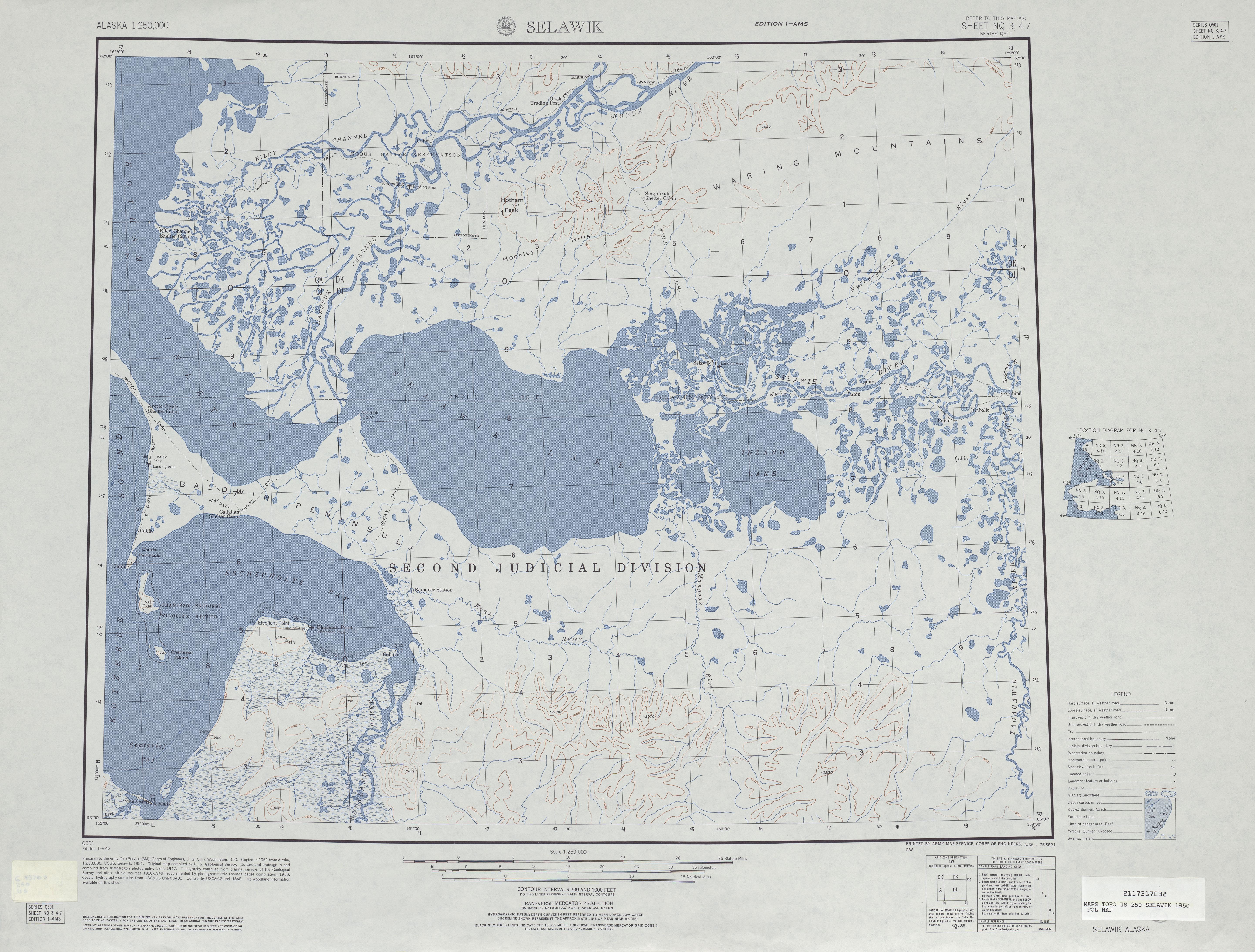 Hoja Selawik del Mapa Topográfico de los Estados Unidos 1950