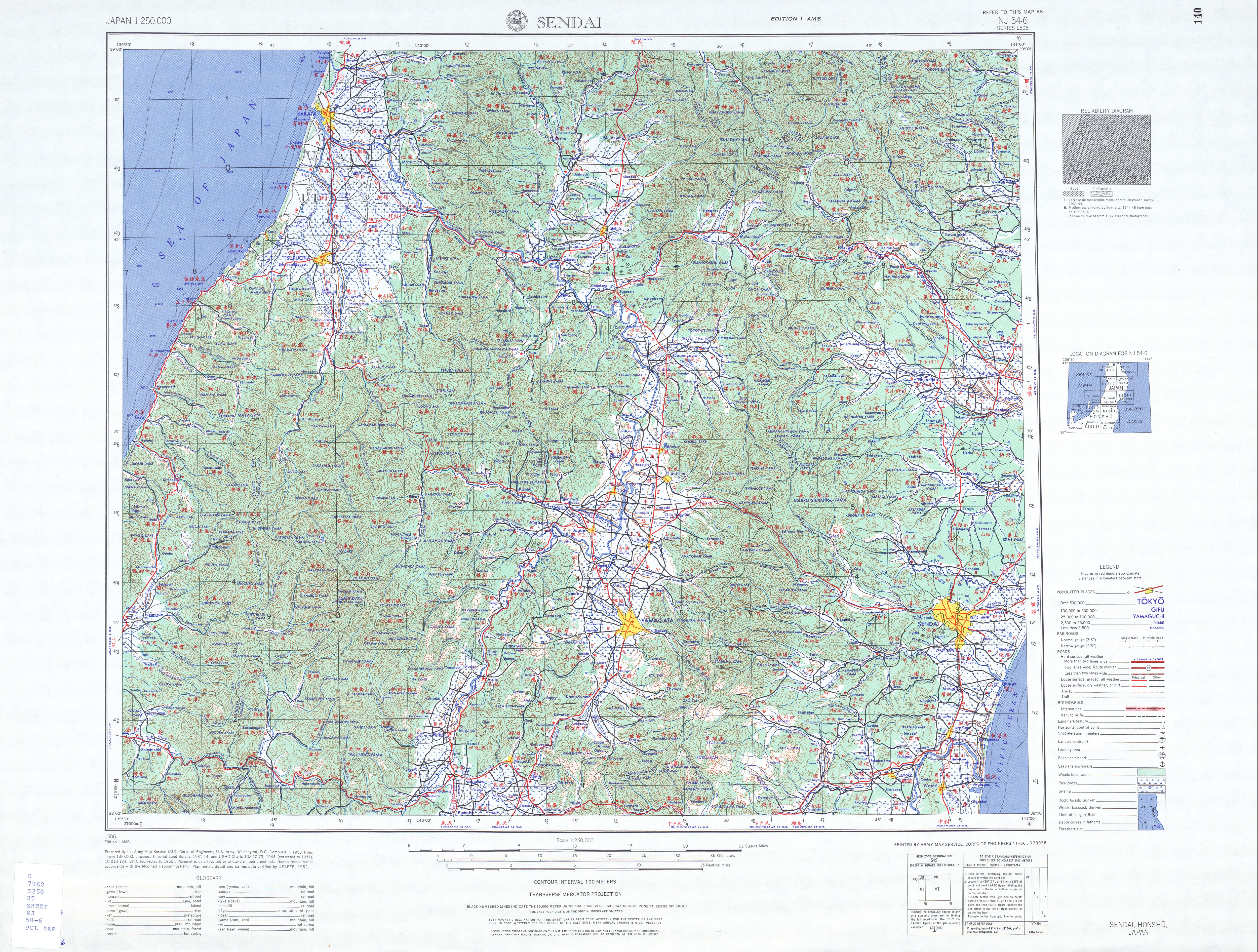 Sendai Topographic Map Sheet, Japan 1954