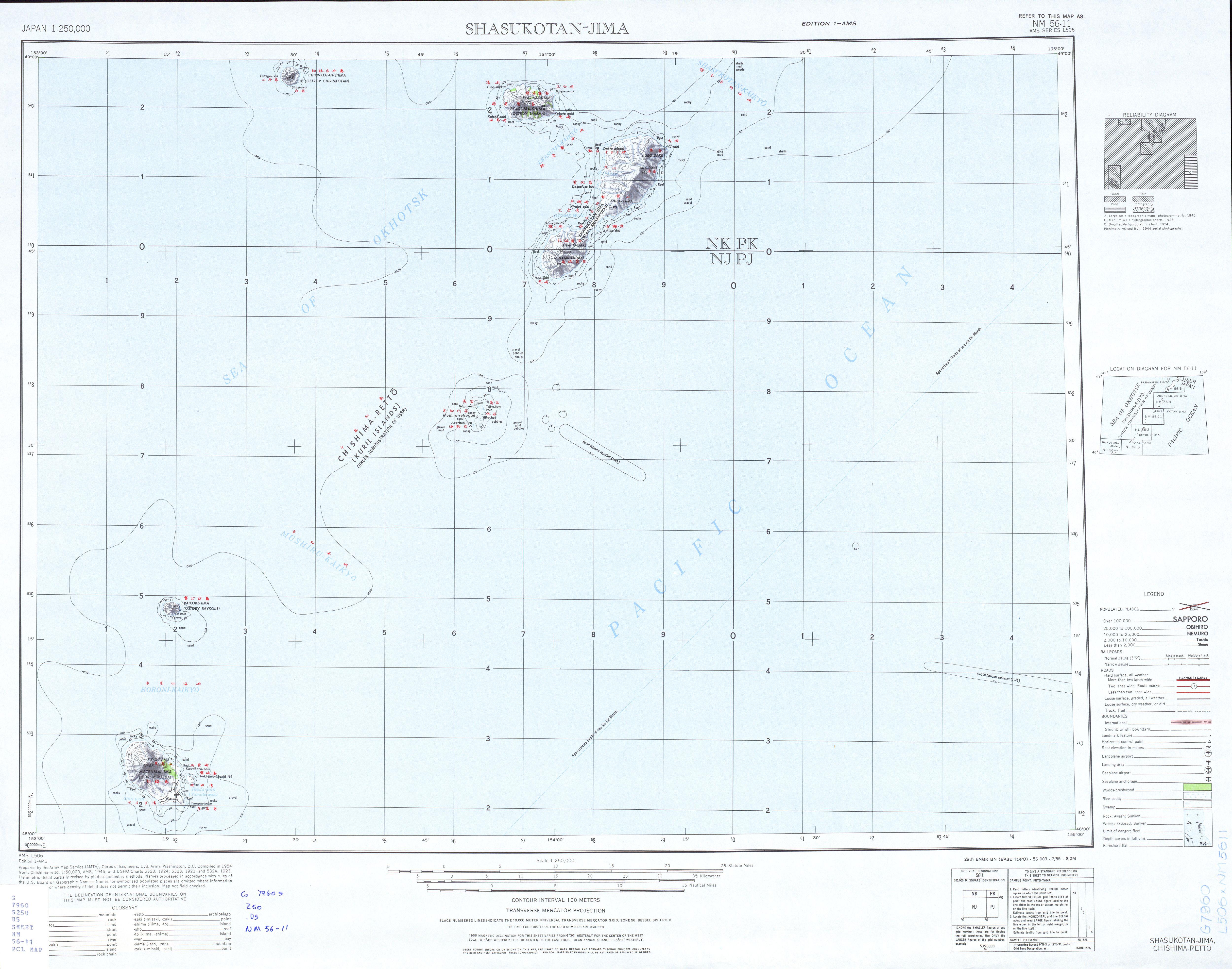 Hoja Shasukotan-Jima del Mapa Topográfico de Japón 1954