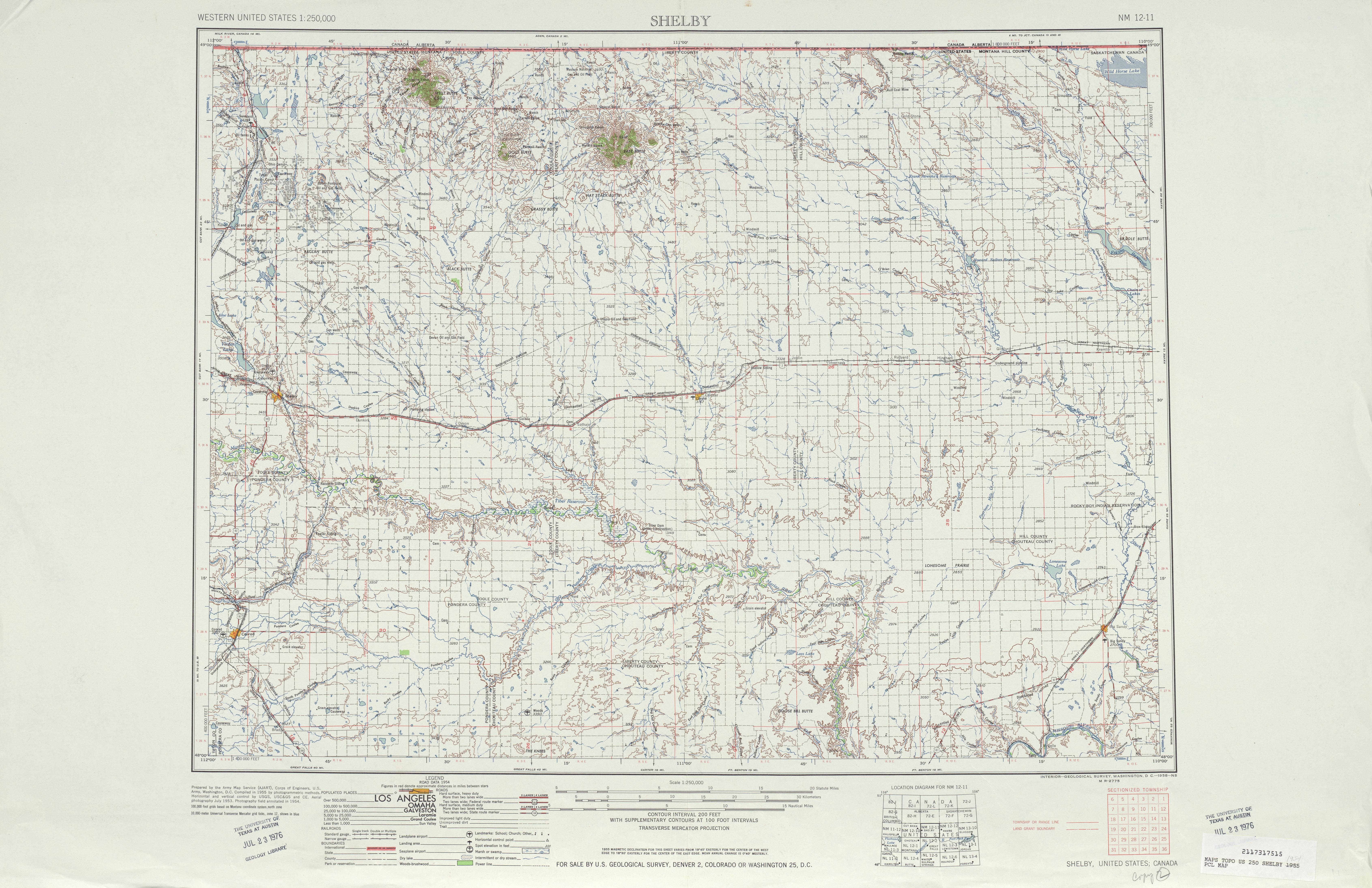 Hoja Shelby del Mapa Topográfico de los Estados Unidos 1954