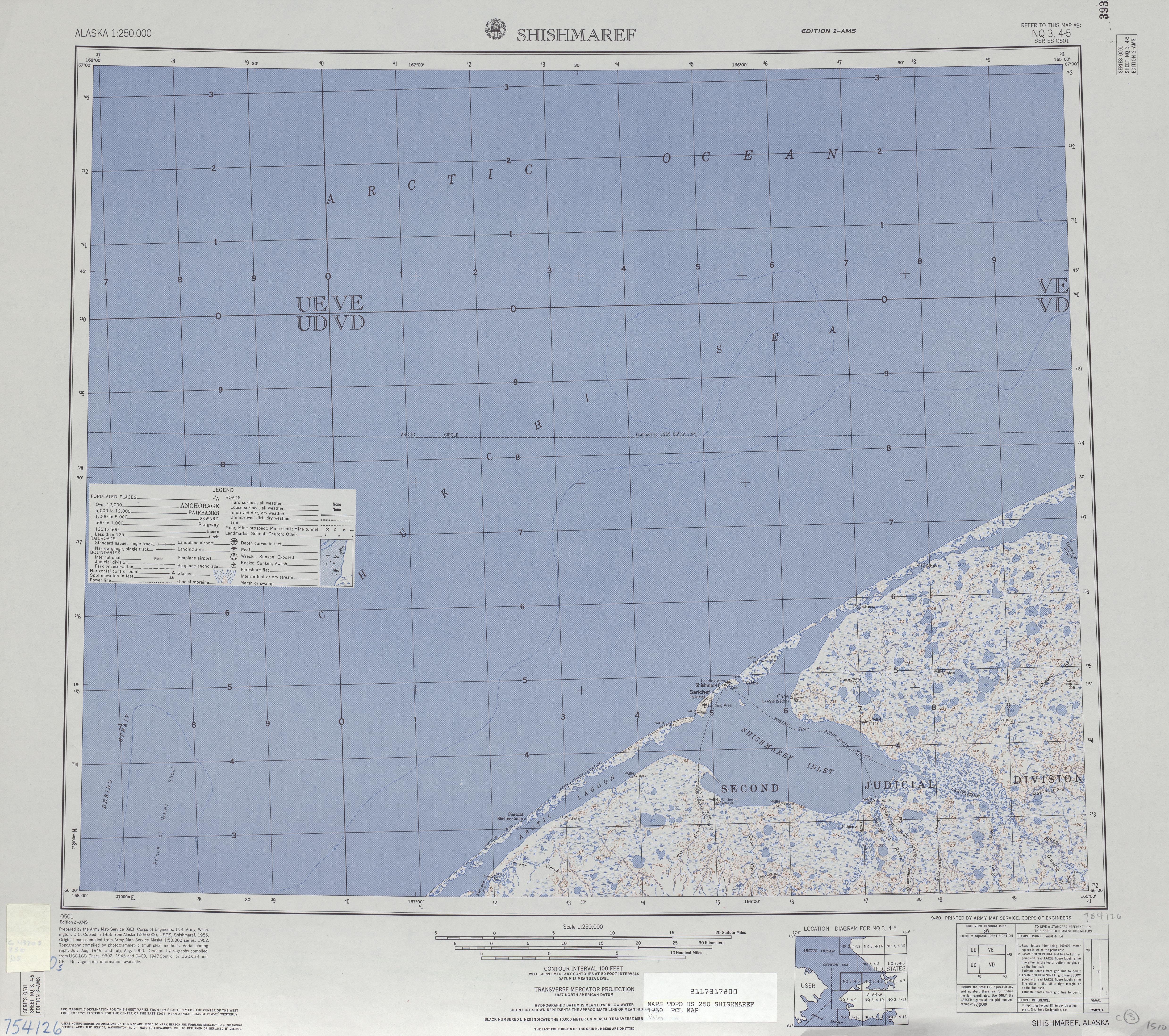 Hoja Shishmaref del Mapa Topográfico de los Estados Unidos 1955