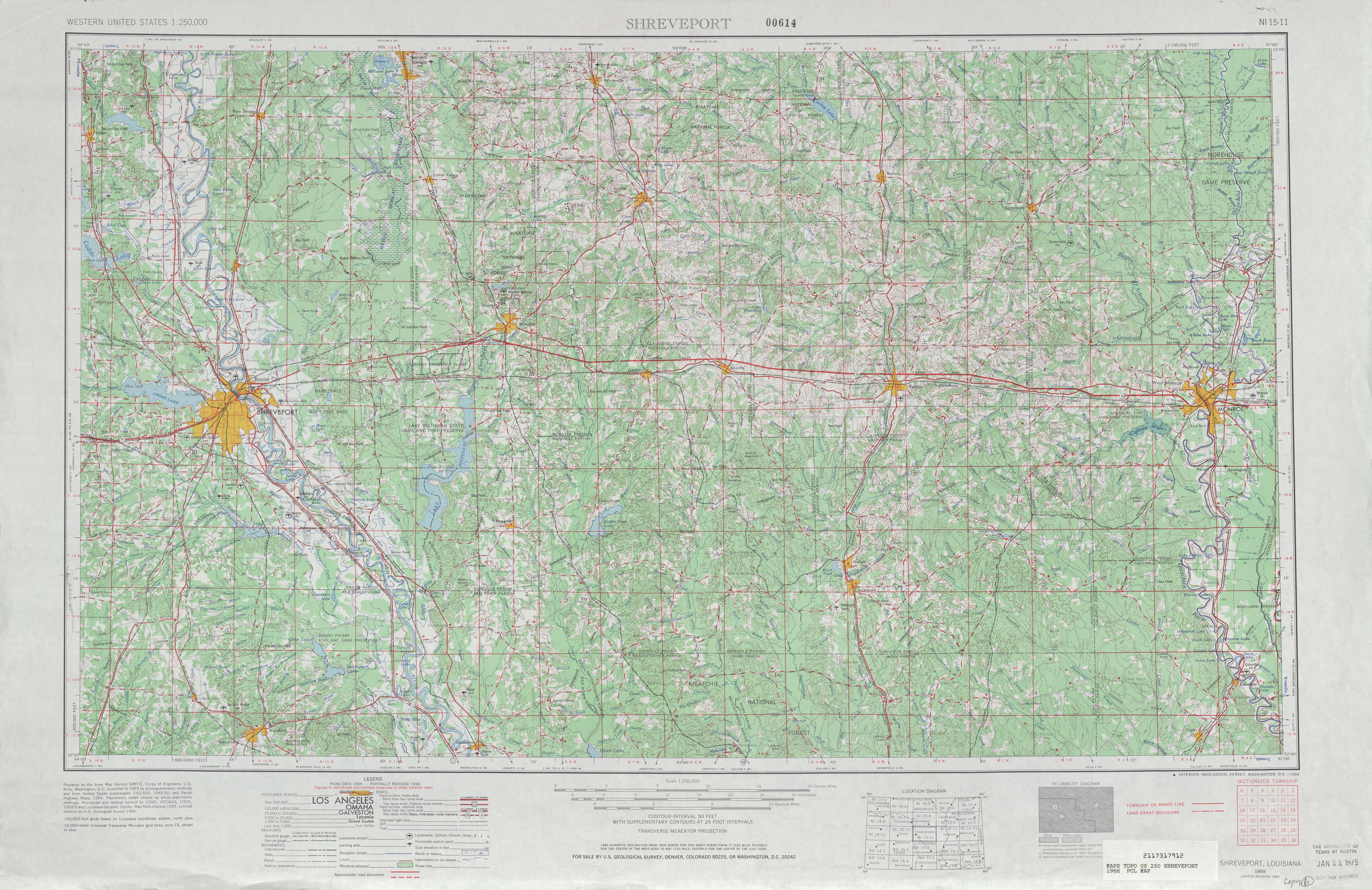 Shreveport Topographic Map Sheet, United States 1966