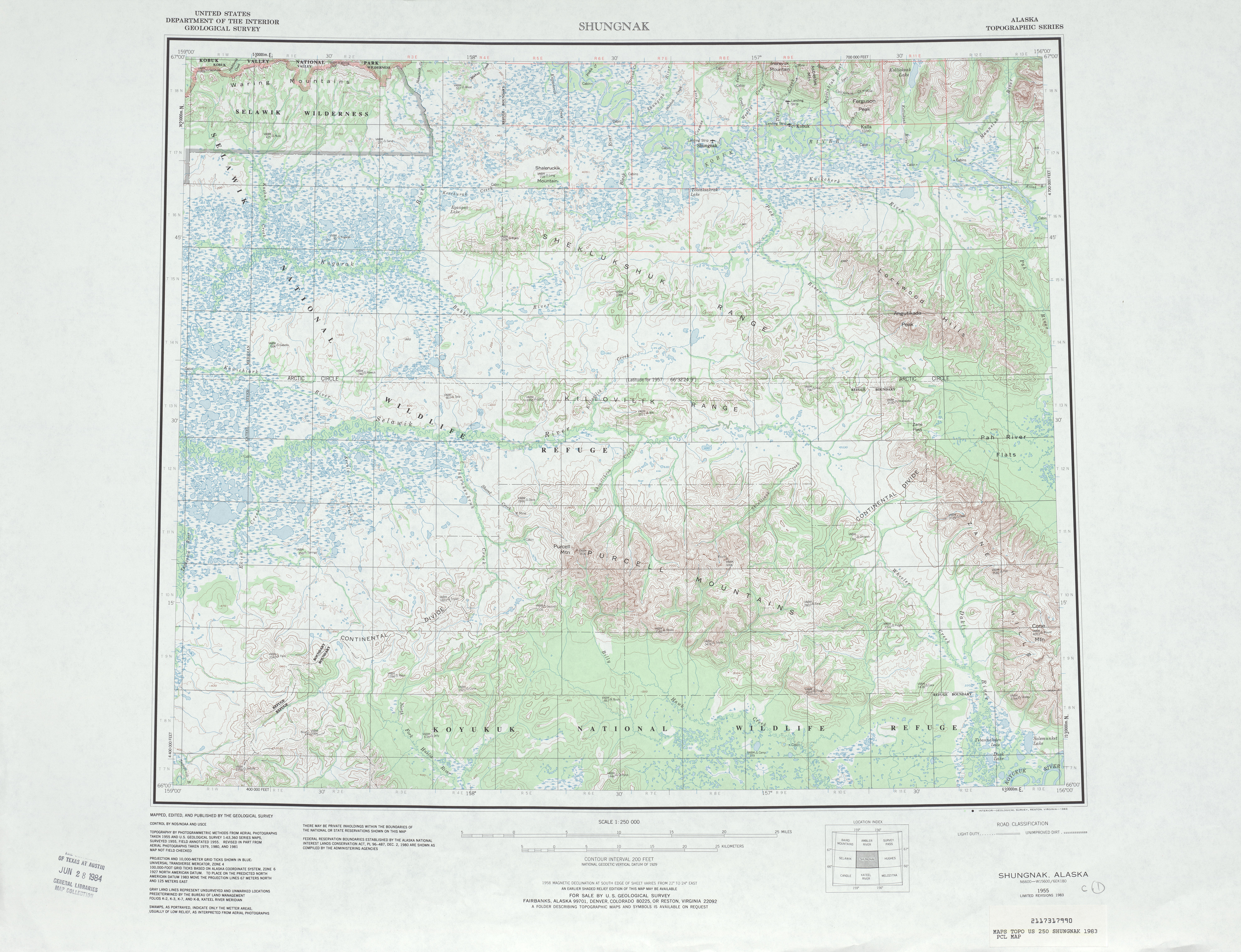Shungnak Topographic Map Sheet, United States 1983