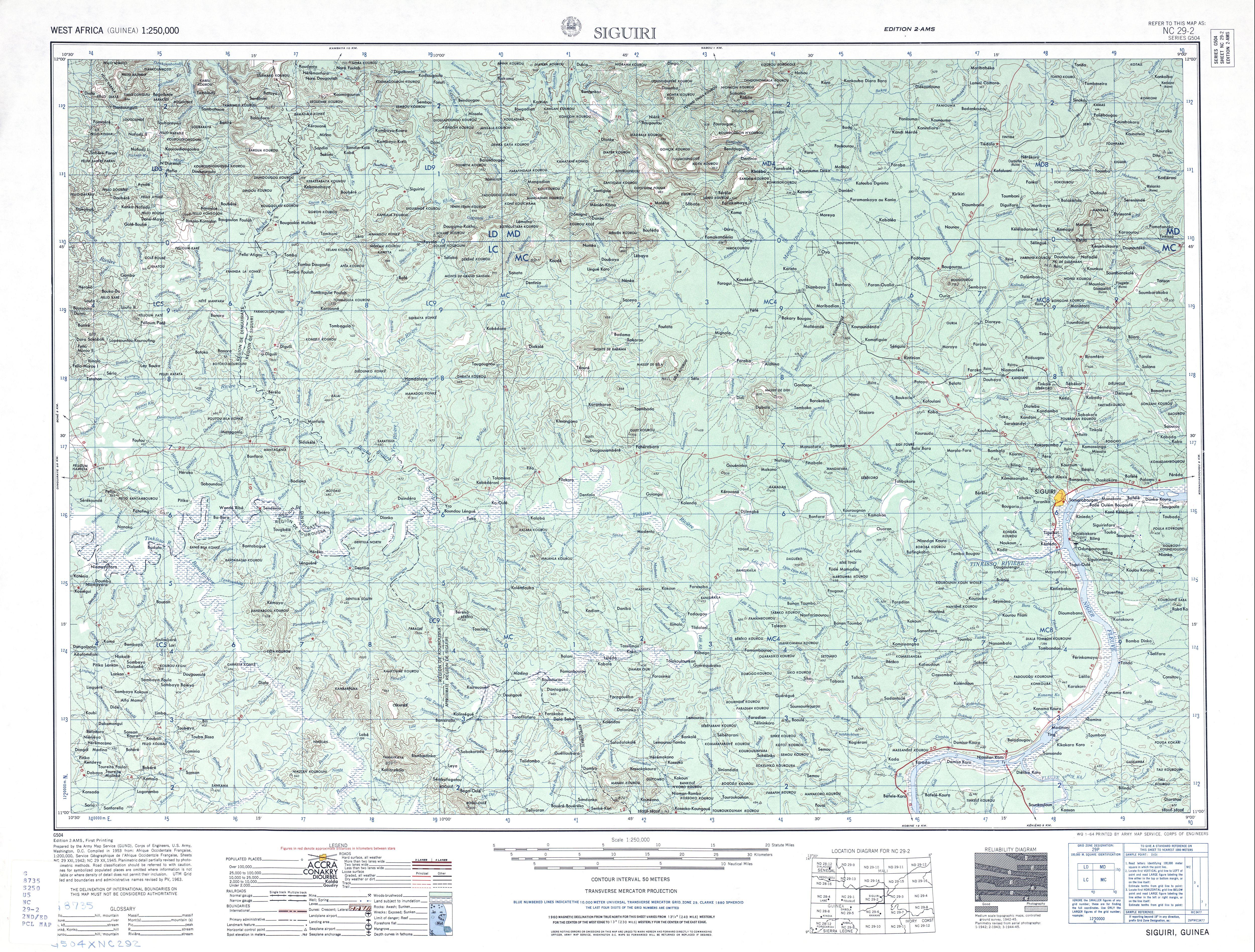 Hoja Siguiri del Mapa Topográfico de África Occidental 1955