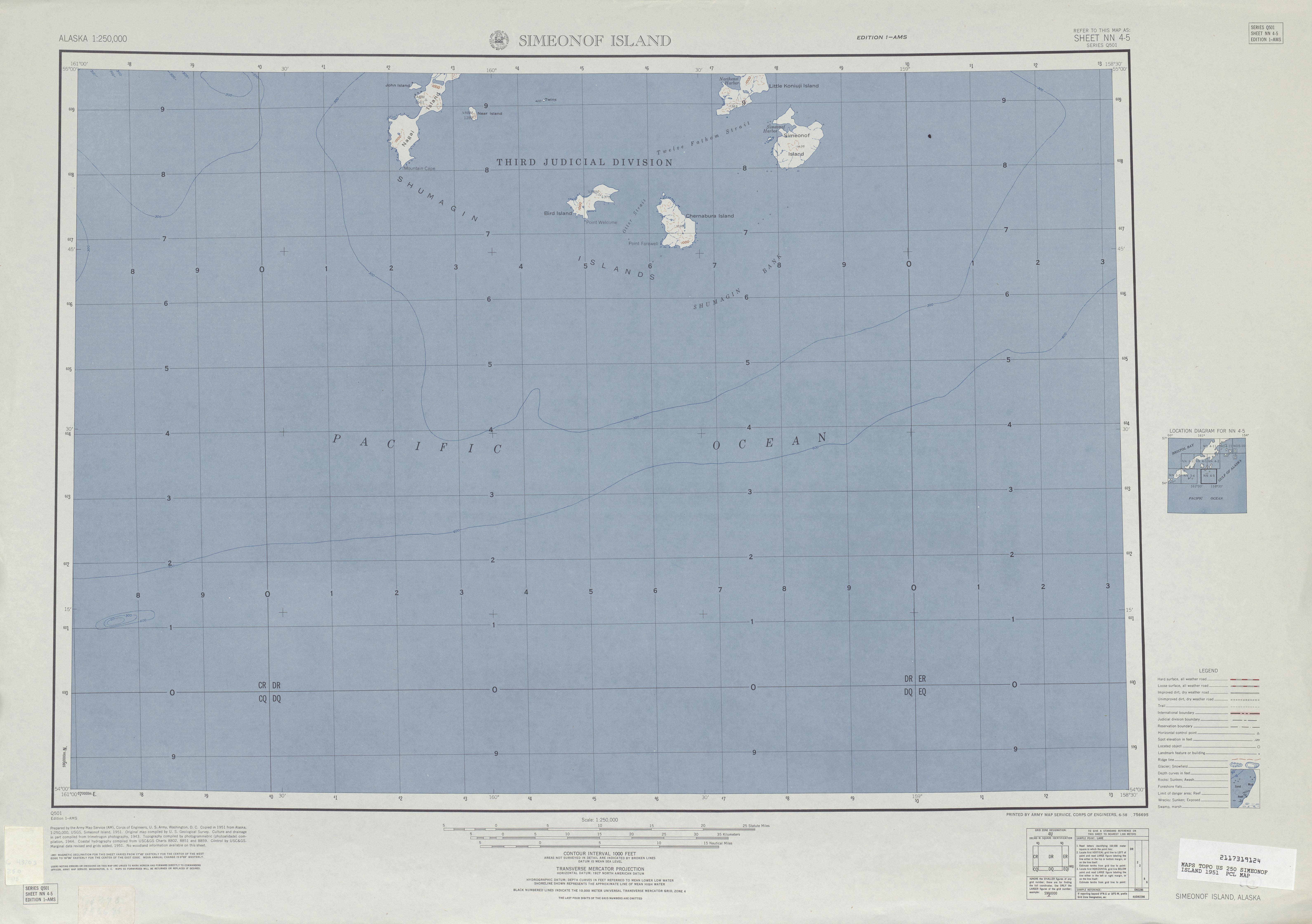 Hoja Simeonof Island del Mapa Topográfico de los Estados Unidos 1951